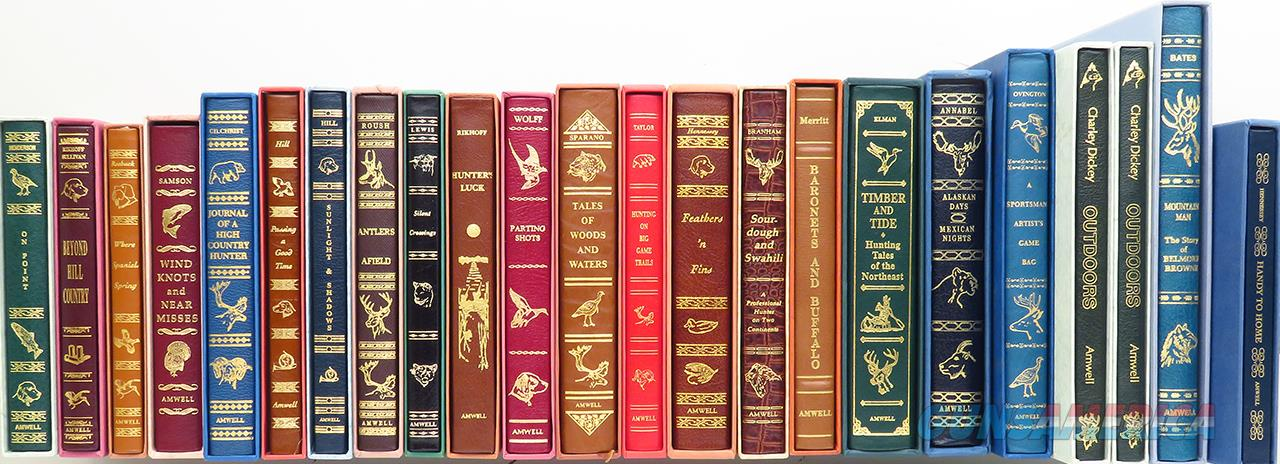 Library of 23 Amwell Press limited editions, all numbered 396/1000, leather, slips, most signed, Annabel, Hill, Branham, as new  Non-Guns > Books & Magazines