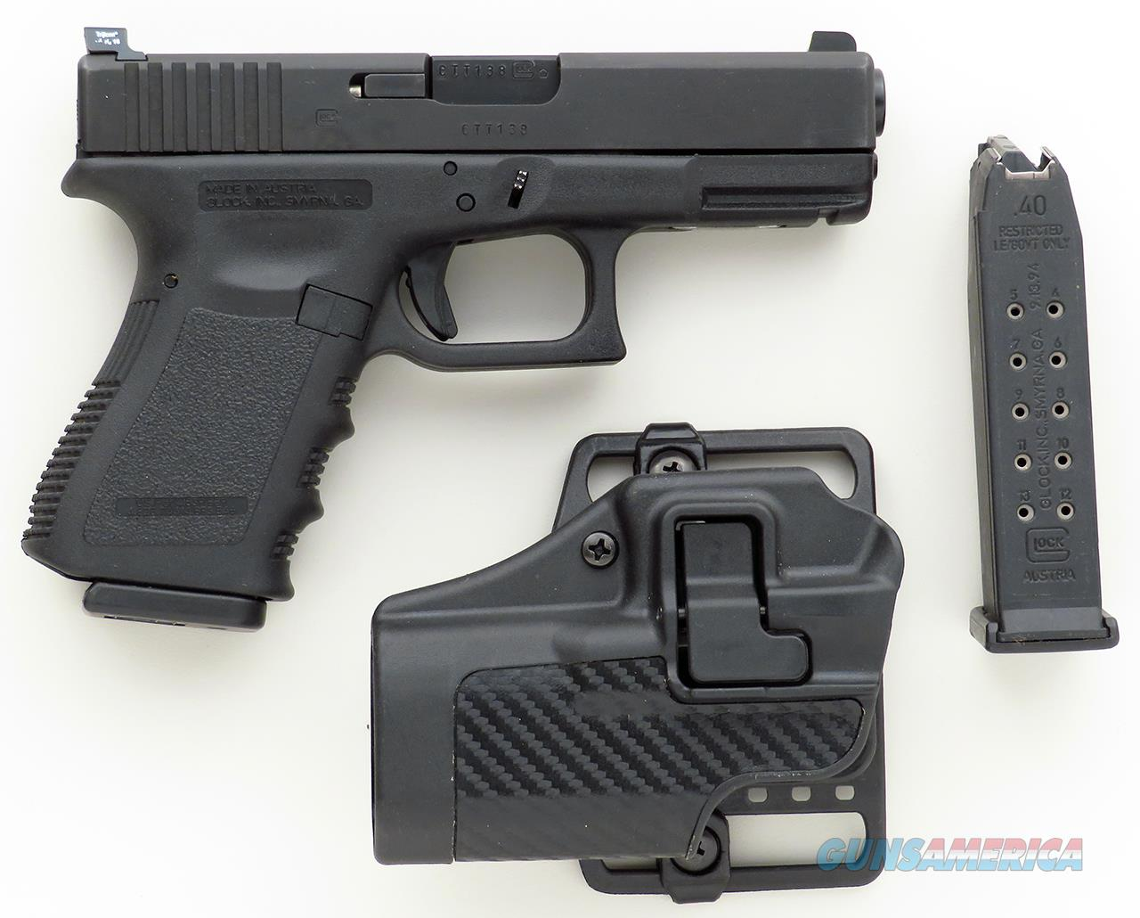 Glock Model 23 .40, Trijicon night sights, two 13-round magazines, Blackhawk! CQC holster   Guns > Pistols > Glock Pistols > 23