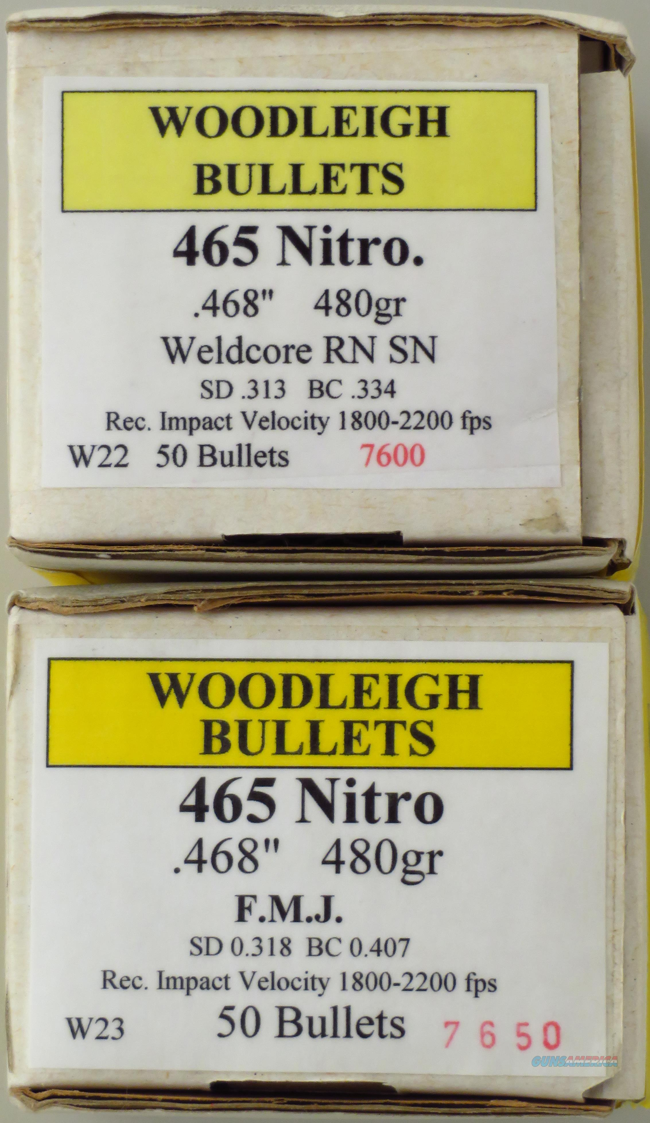 Woodleigh .465 Nitro Bullets, 480-grain, two boxes of 50 each.  Non-Guns > Reloading > Components > Bullets