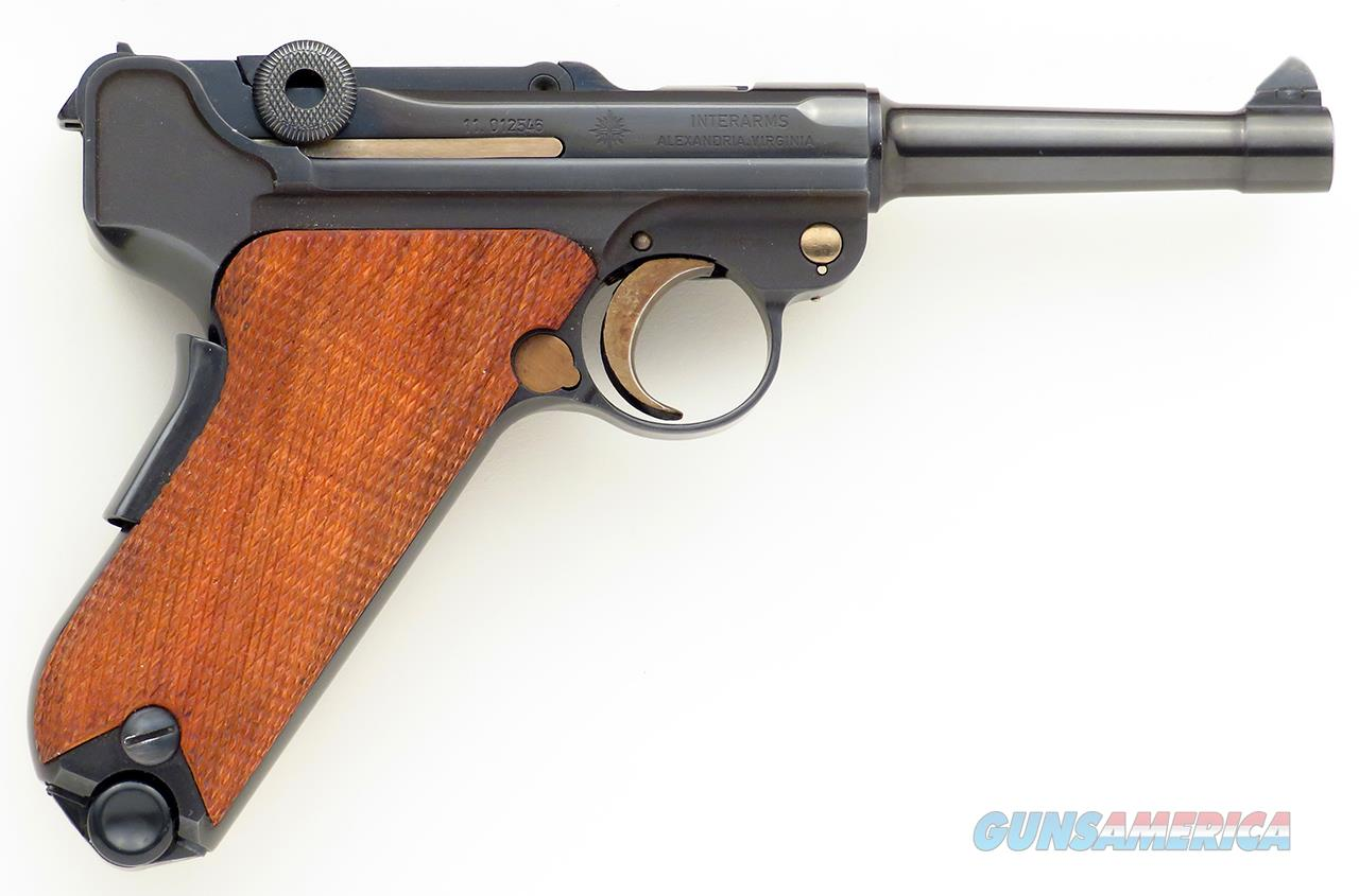Luger 9mm, unfired in box, Interarms, blue, wood, two magazines, papers and test target  Guns > Pistols > Luger Pistols