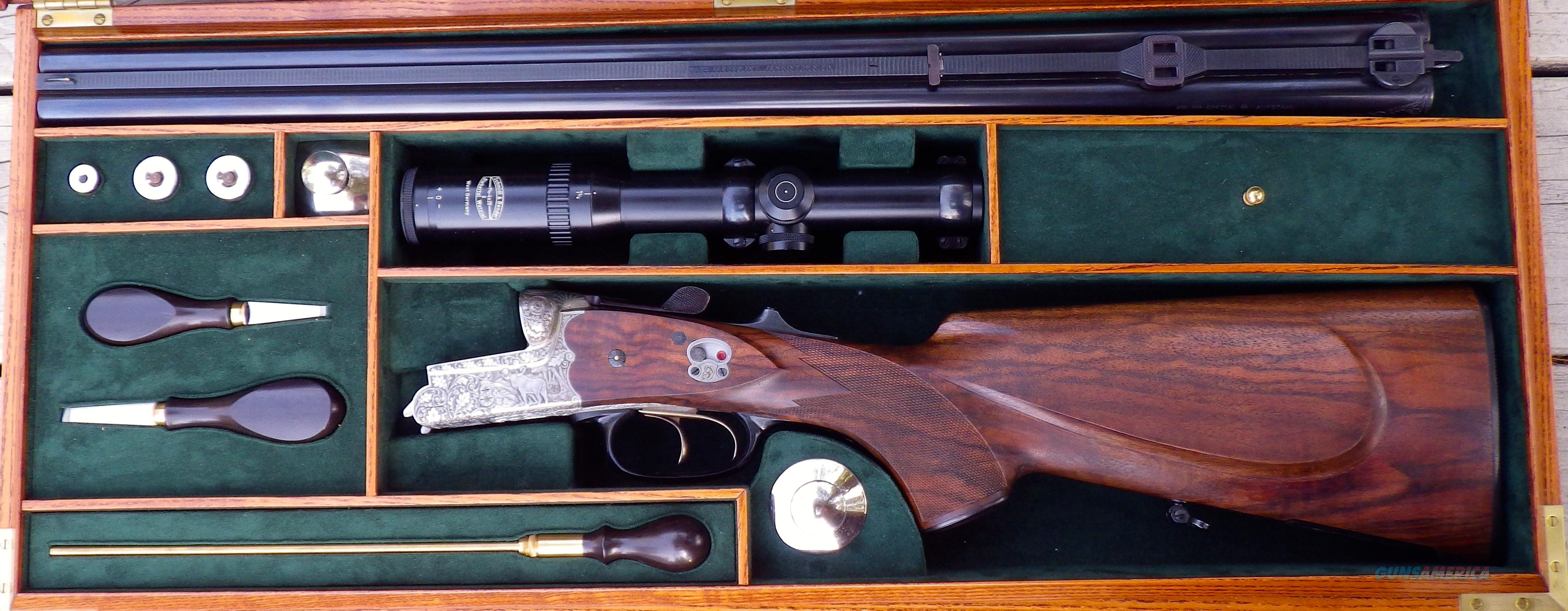 Heym Model 33 Deluxe drilling 16/16/9.3x74R, full engraving, Huey case, pristine  Guns > Rifles > Custom Rifles > Other