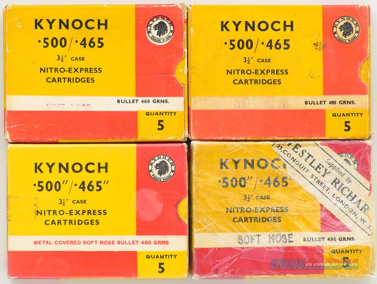 Kynoch .500/465 Nitro Express, four boxes, 20 rounds, 480-grain softs  Non-Guns > Ammunition