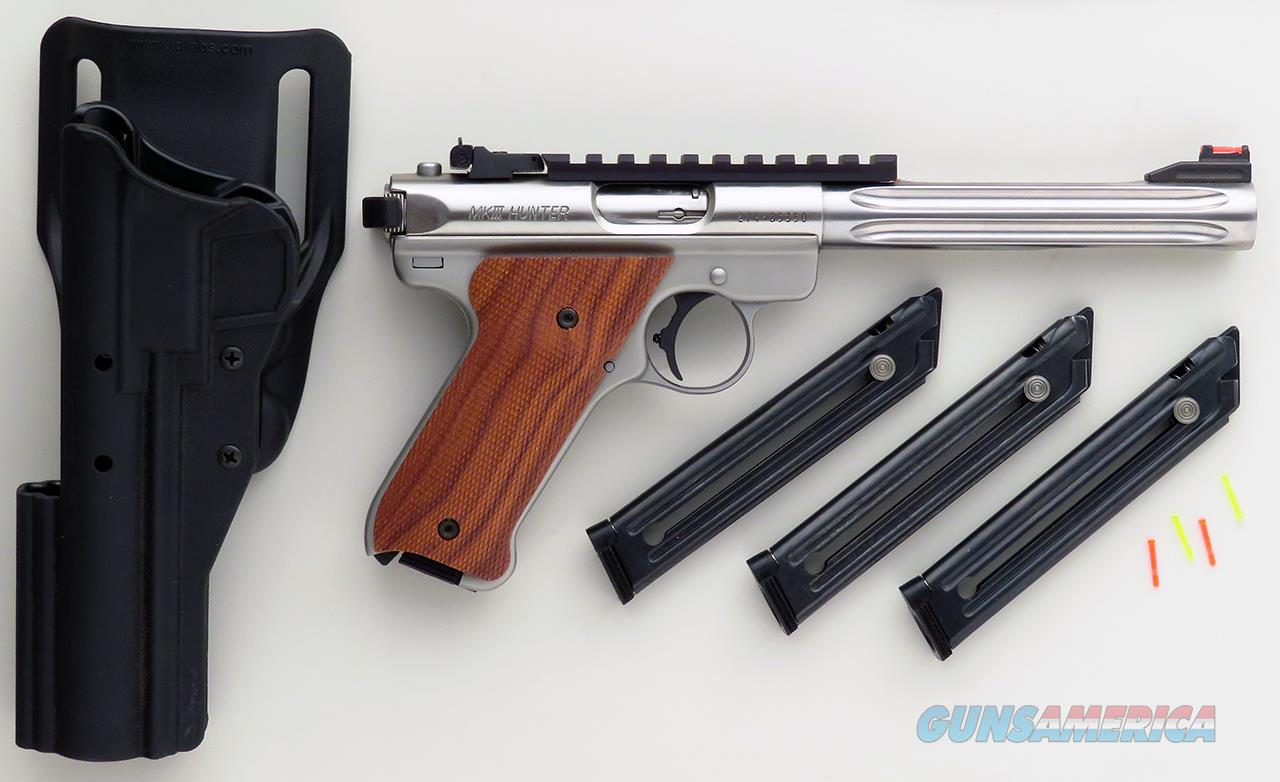 Custom Ruger MK III Hunter .22 LR by Majestic Arms, stainless, fluted, takedown, grips, rail, Hi-Viz, layaway  Guns > Pistols > Ruger Semi-Auto Pistols > Mark I/II/III/IV Family