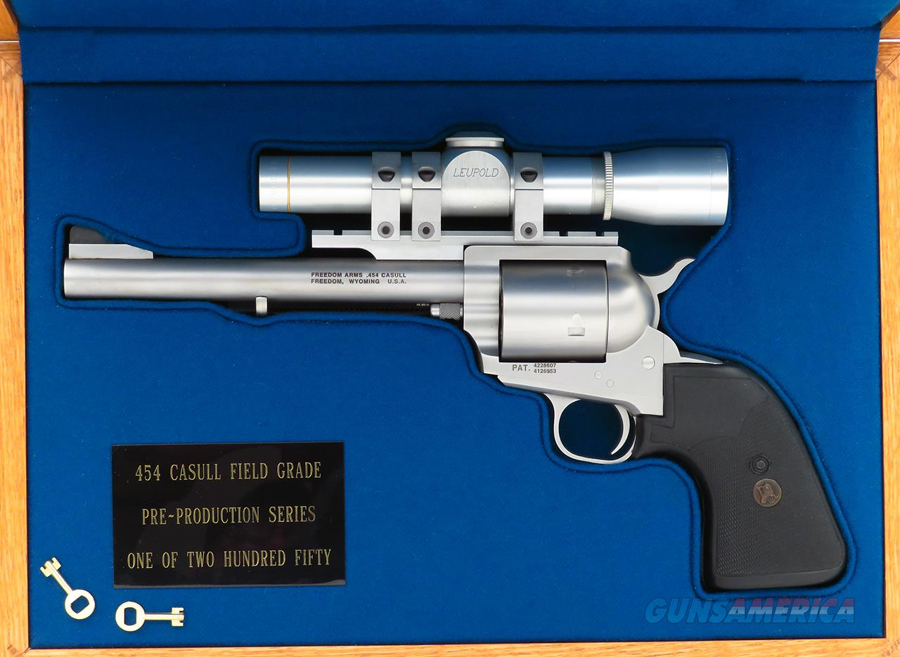 Freedom Arms Pre-production Series Field Grade .454 Casull, Leupold, TSOB, fitted case, unfired  Guns > Pistols > Freedom Arms Pistols