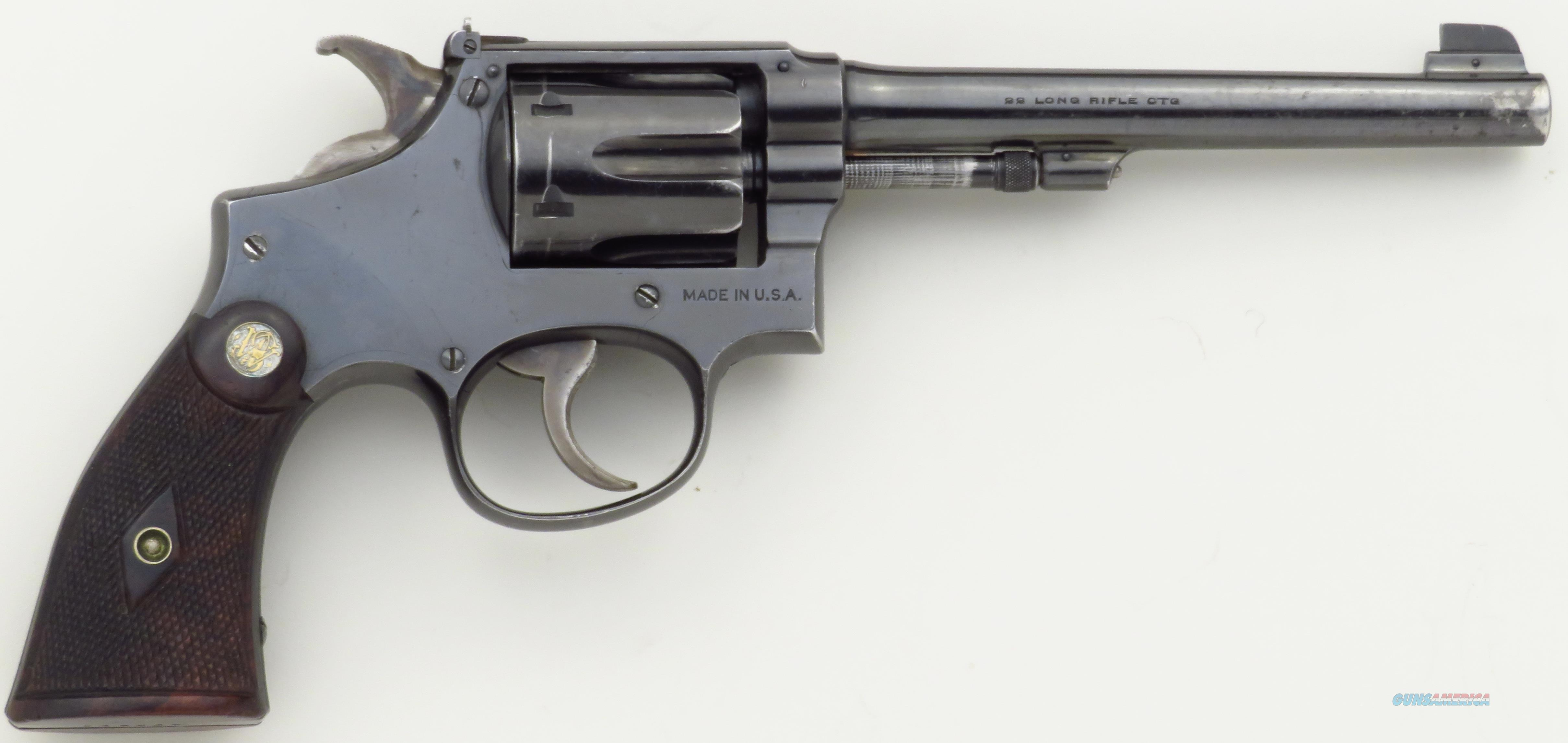 Smith & Wesson K-22 Outdoorsman 1st Model .22 LR, 6-inch, 649849, 80% original condition  Guns > Pistols > Smith & Wesson Revolvers > Med. Frame ( K/L )