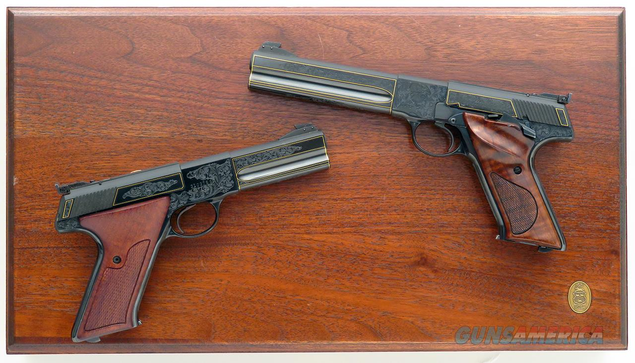 Colt Woodsman Match Target factory engraved pair, .22 LR, Spring, gold, cased, 1983, lettered, superlative, layaway  Guns > Pistols > Colt Automatic Pistols (22 Cal.)