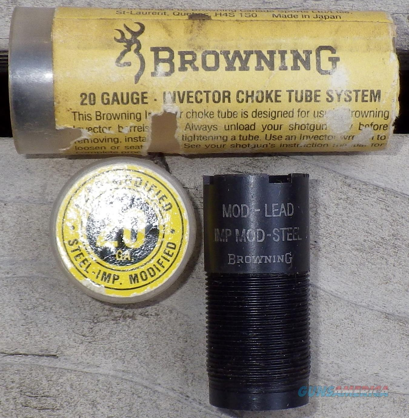 Browning 20 gauge Invector choke tube, modified (lead) and IM (steel), as new  Non-Guns > Shotgun Sports > Chokes
