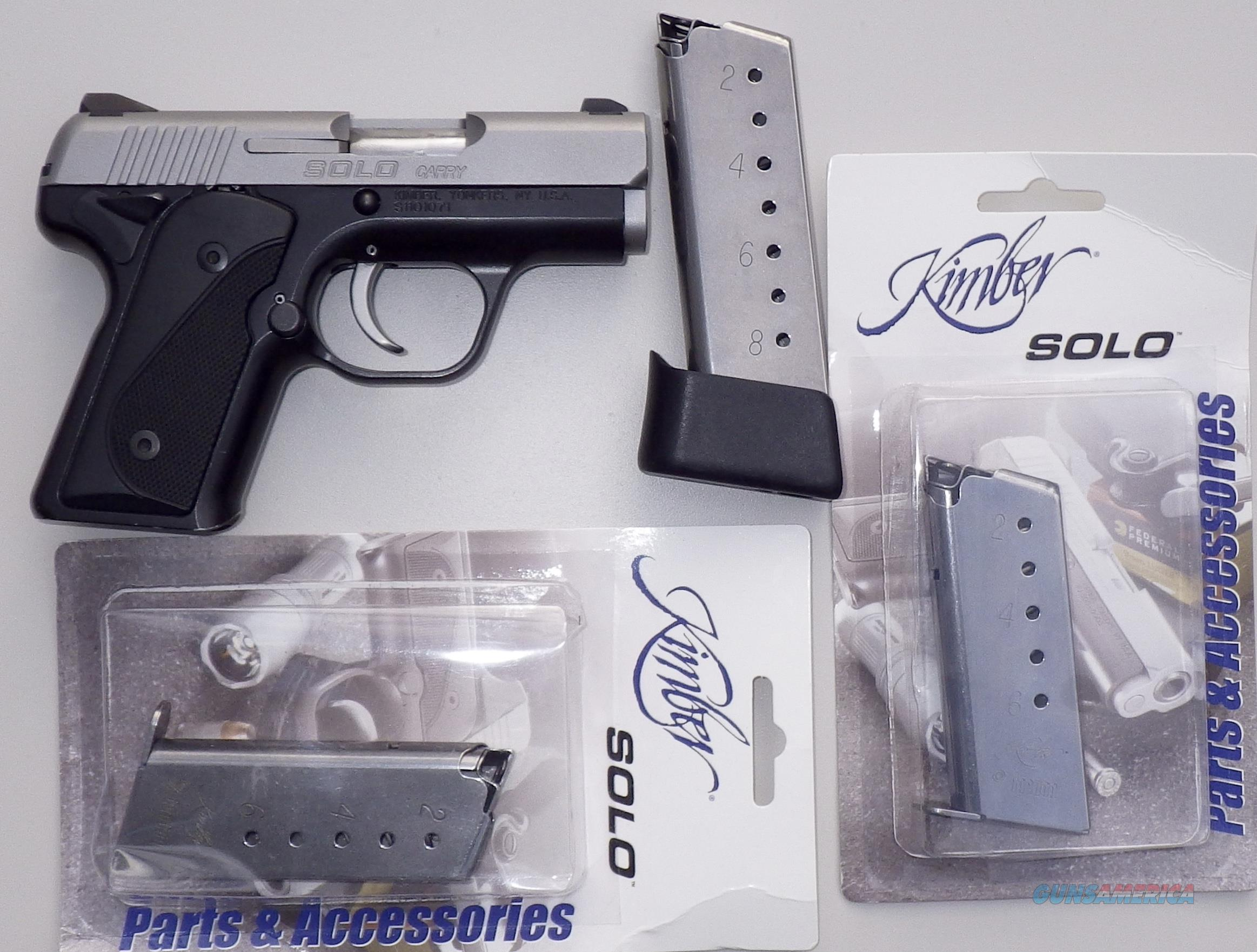 Kimber Solo Carry 9mm, stainless slide, 3 magazines, two tone, 99% in factory box  Guns > Pistols > Kimber of America Pistols