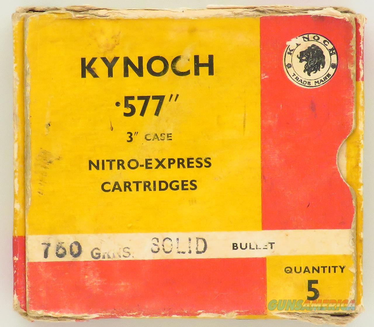 Kynoch .577 Nitro Express, box of five rounds, 750-grain solids  Non-Guns > Ammunition
