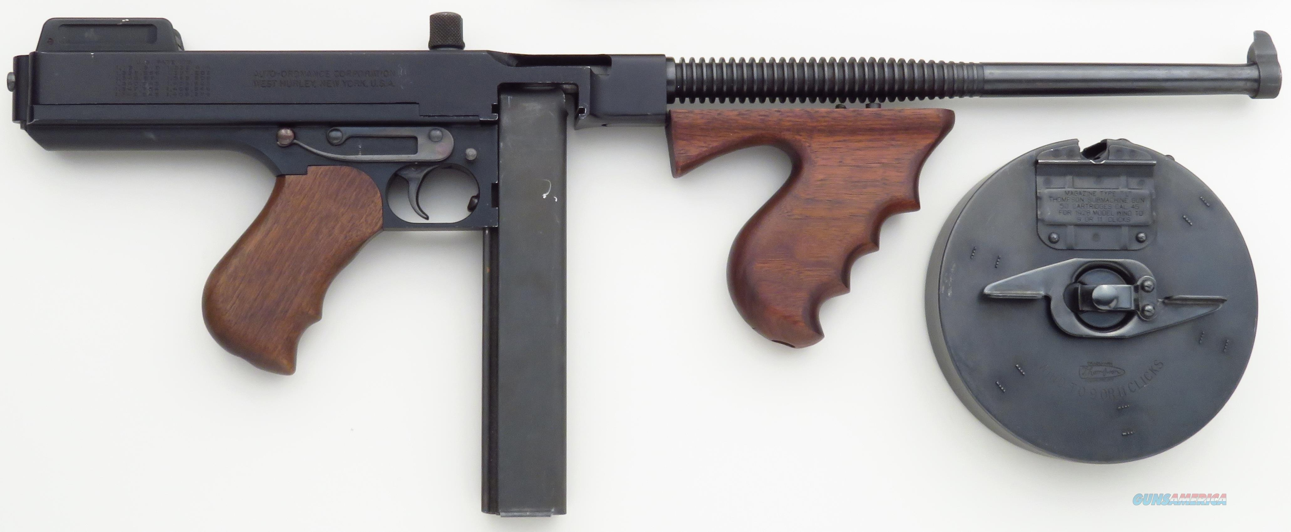 Thompson 1927 A5 pistol, 30 stick and 50 drum, 14.5-inch finned barrel, 98%  Guns > Pistols > Auto Ordnance Pistols