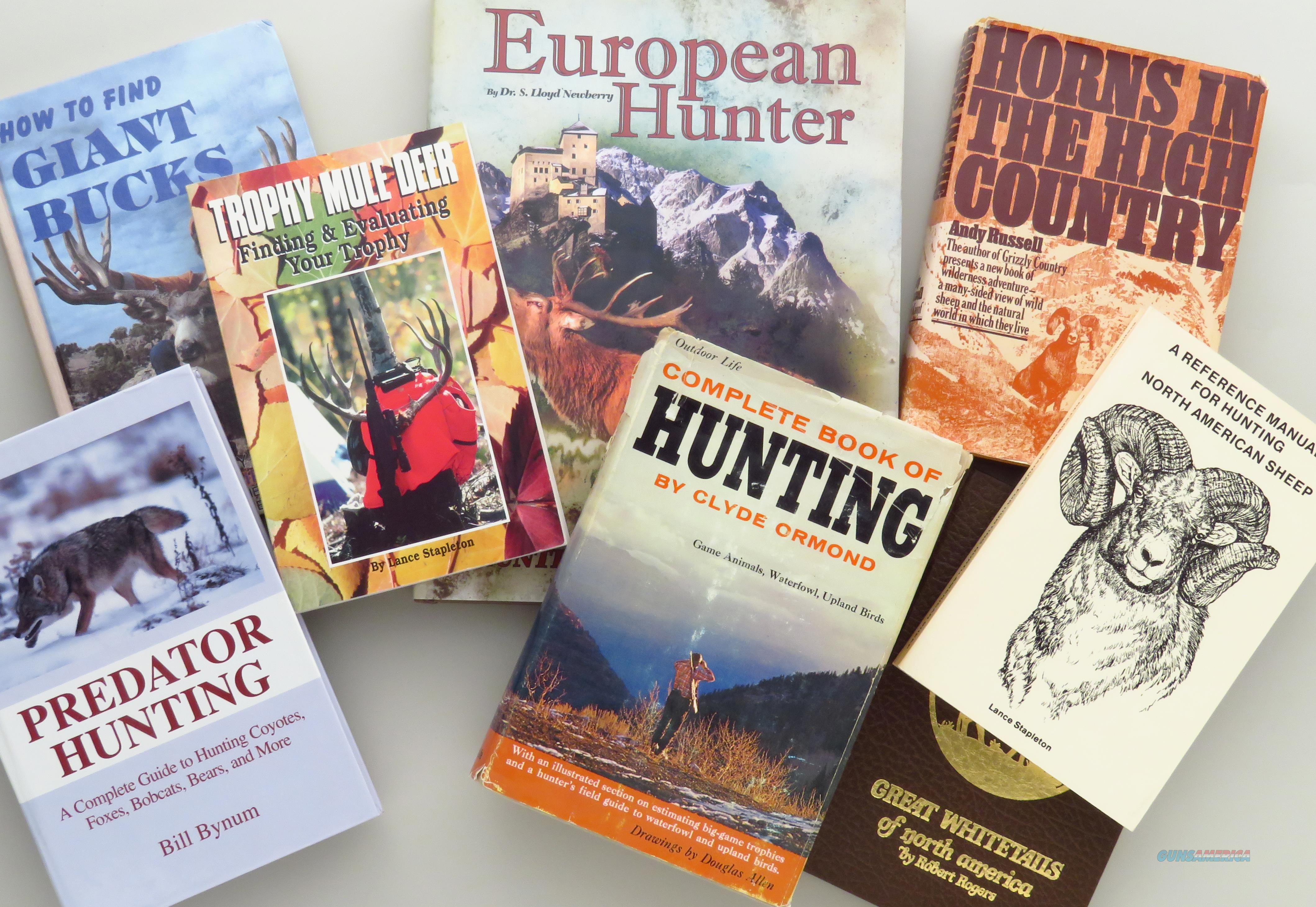 Hunting books, lot of eight, including five from library of gunwriter Chub Eastman  Non-Guns > Books & Magazines