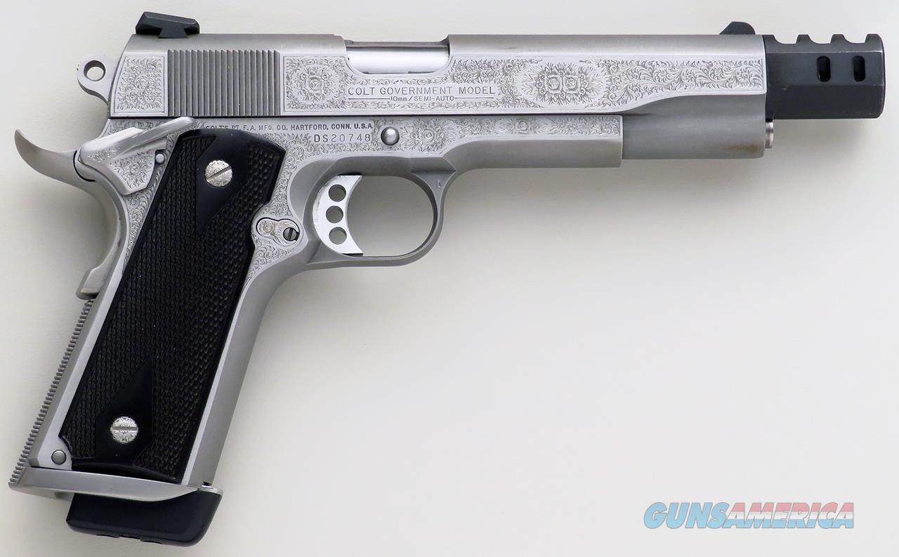 Colt Delta Elite 10mm, engraved by Wayne Wild, stainless, comp, mag well, thin grips, 99 percent, layaway  Guns > Pistols > Colt Automatic Pistols (1911 & Var)
