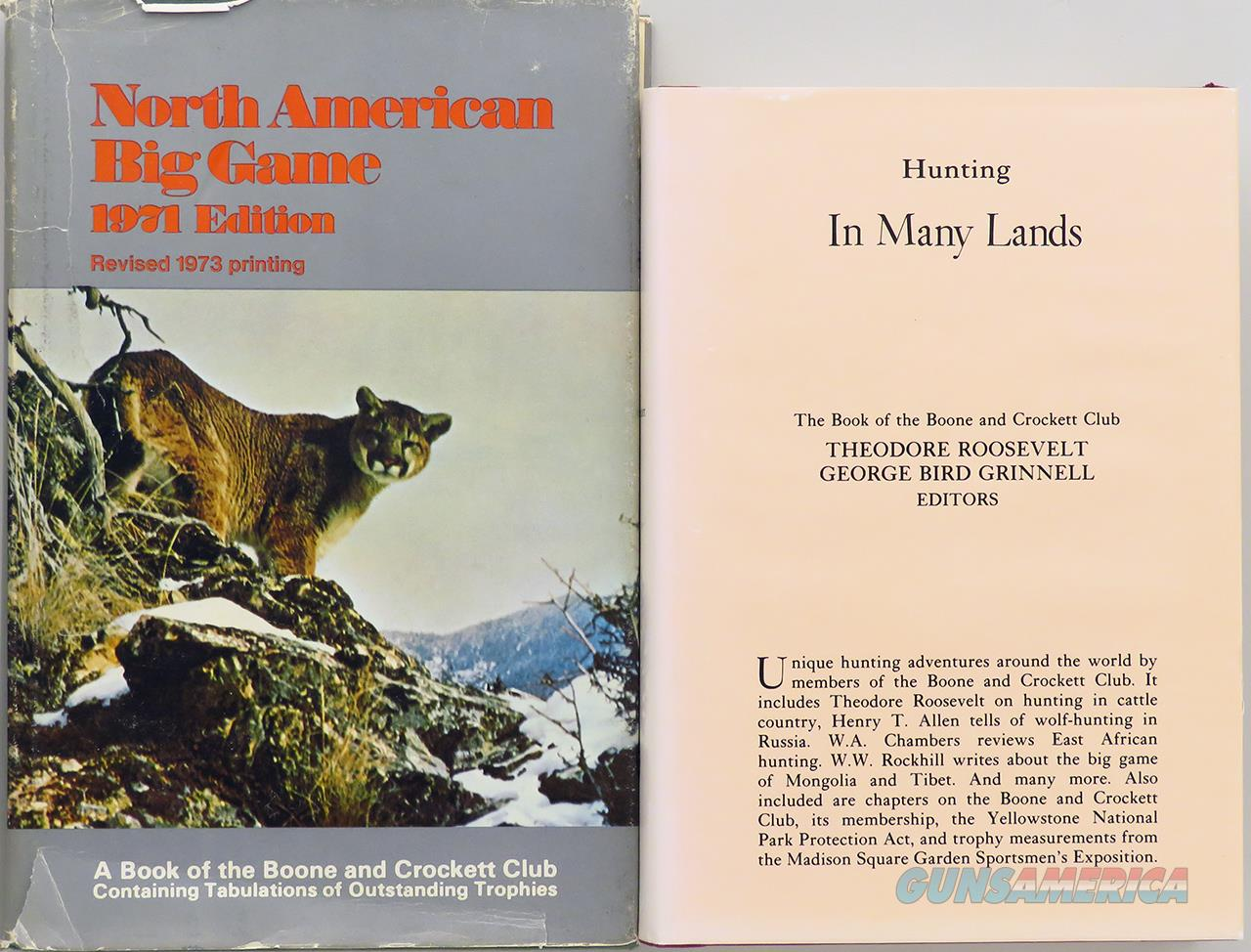 Boone and Crockett Club, Hunting in Many Lands & 1973 records book  Non-Guns > Books & Magazines