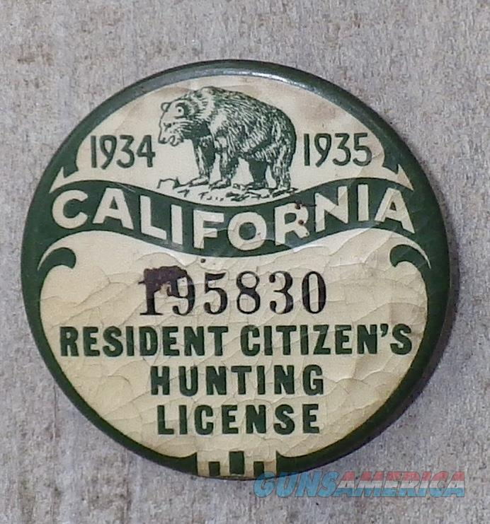 California hunting license pin 1934 35 very for sale for Fishing license in california