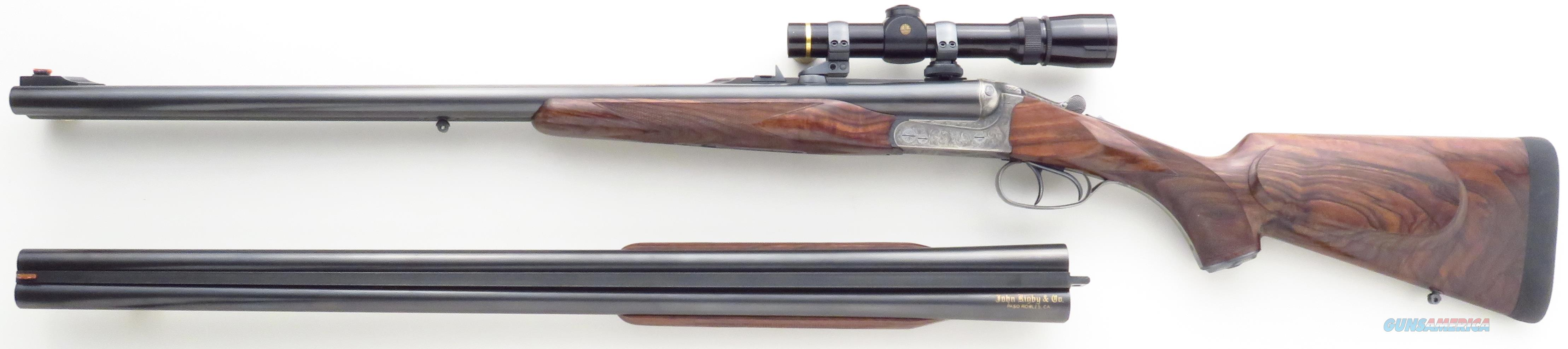 Rigby .470 Nitro Express, extra 12 gauge barrels, case, engraved, EAA quick detach, scope, case, mint condition  Guns > Rifles > Double Rifles (Misc.)