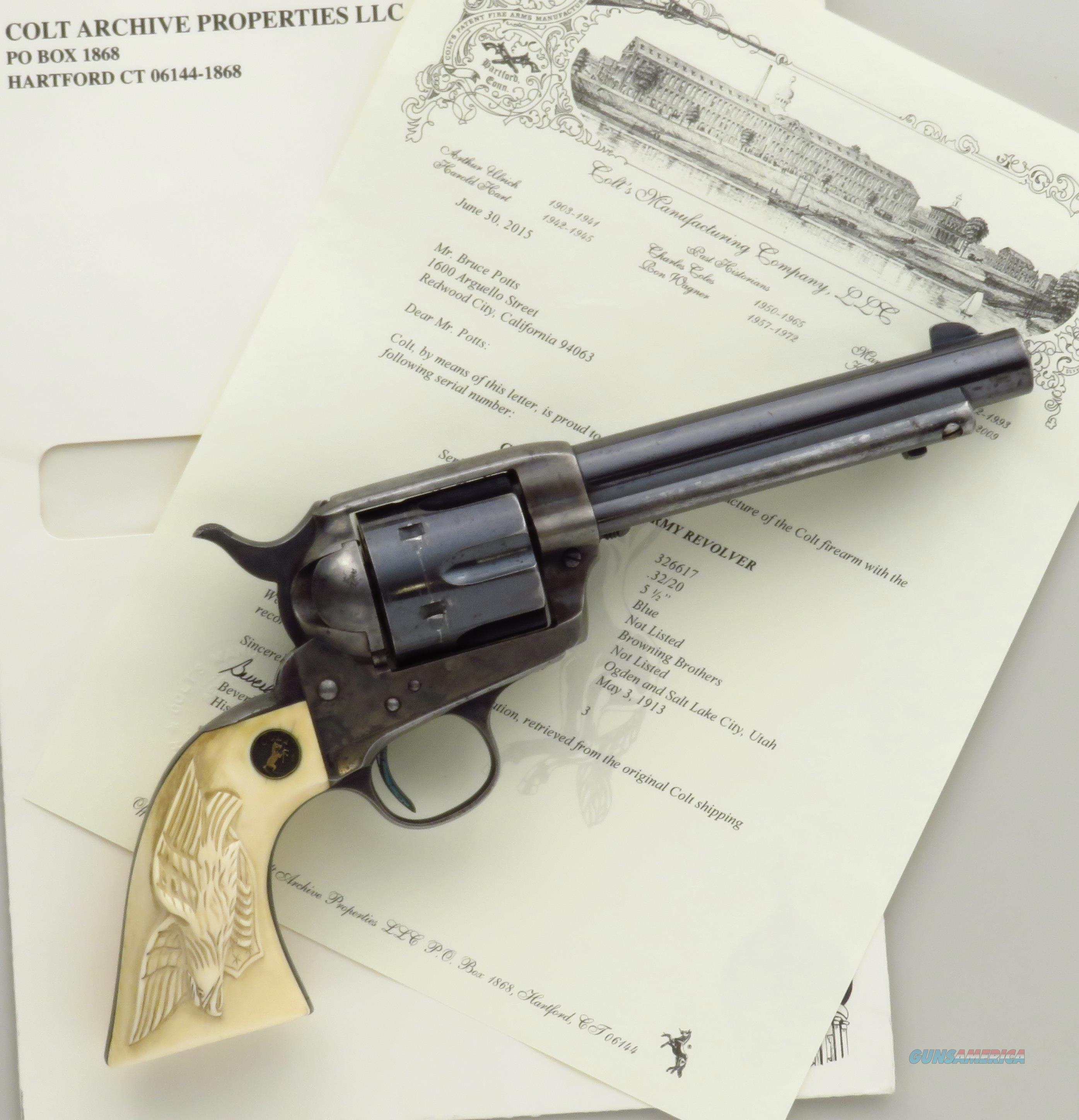 Colt SAA .32 WCF, 1913, ivory eagle grips, shipped to Browning, original, 50% condition  Guns > Pistols > Colt Single Action Revolvers - 1st Gen.