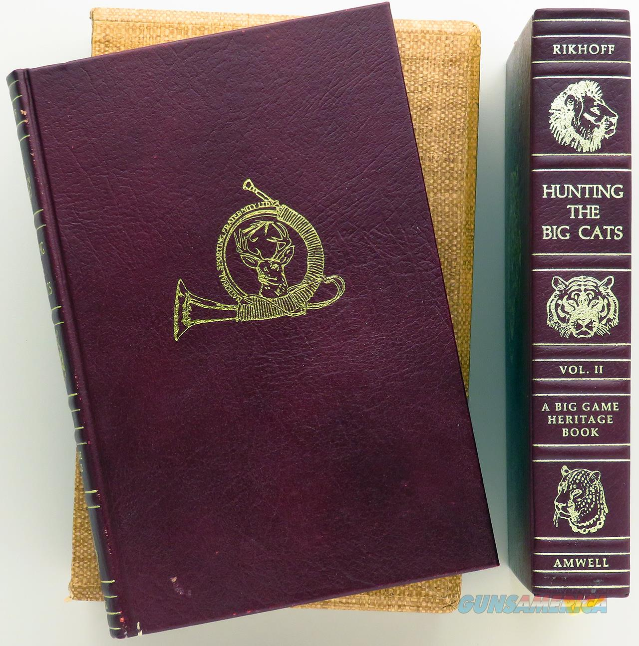 Hunting the Big Cats Volumes I & II, limited edition 346/1000, leather, gilded, double slip, Amwell  Non-Guns > Books & Magazines