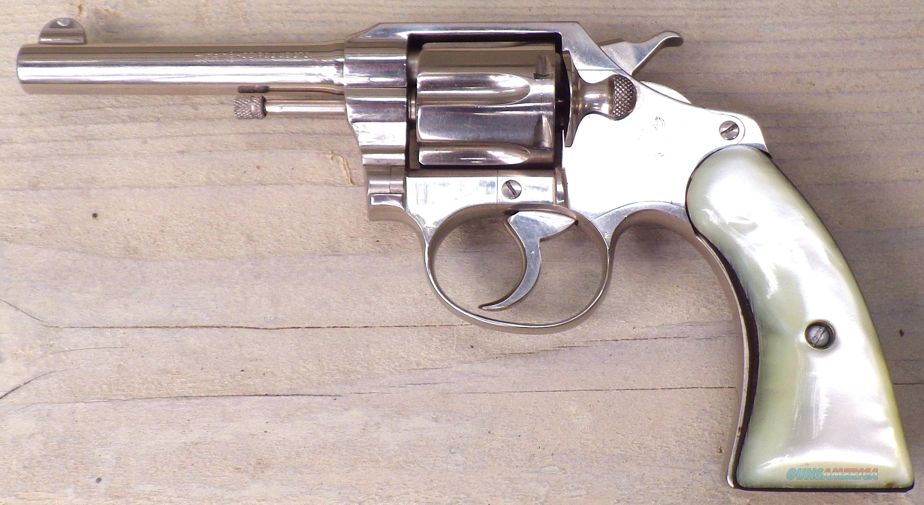 Colt Police Positive .32 Police, nickel, 4-inch, 1st issue, strong condition  Guns > Pistols > Colt Double Action Revolvers- Pre-1945