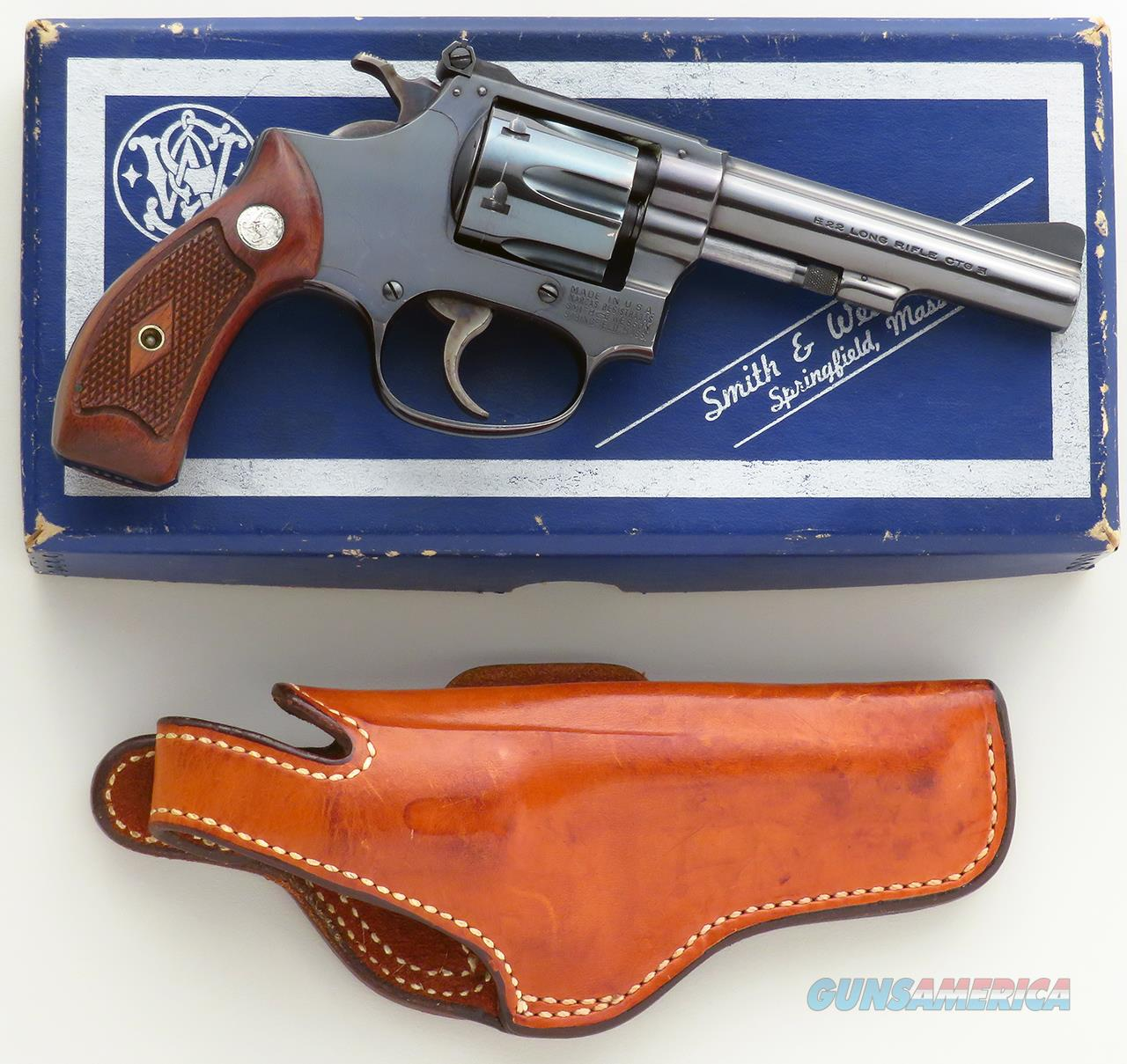 Smith & Wesson Model 34 .22 LR, 1959, blue, diamond grip, 4-inch, box, holster, estate of Tom Siatos   Guns > Pistols > Smith & Wesson Revolvers > Small Frame ( J )