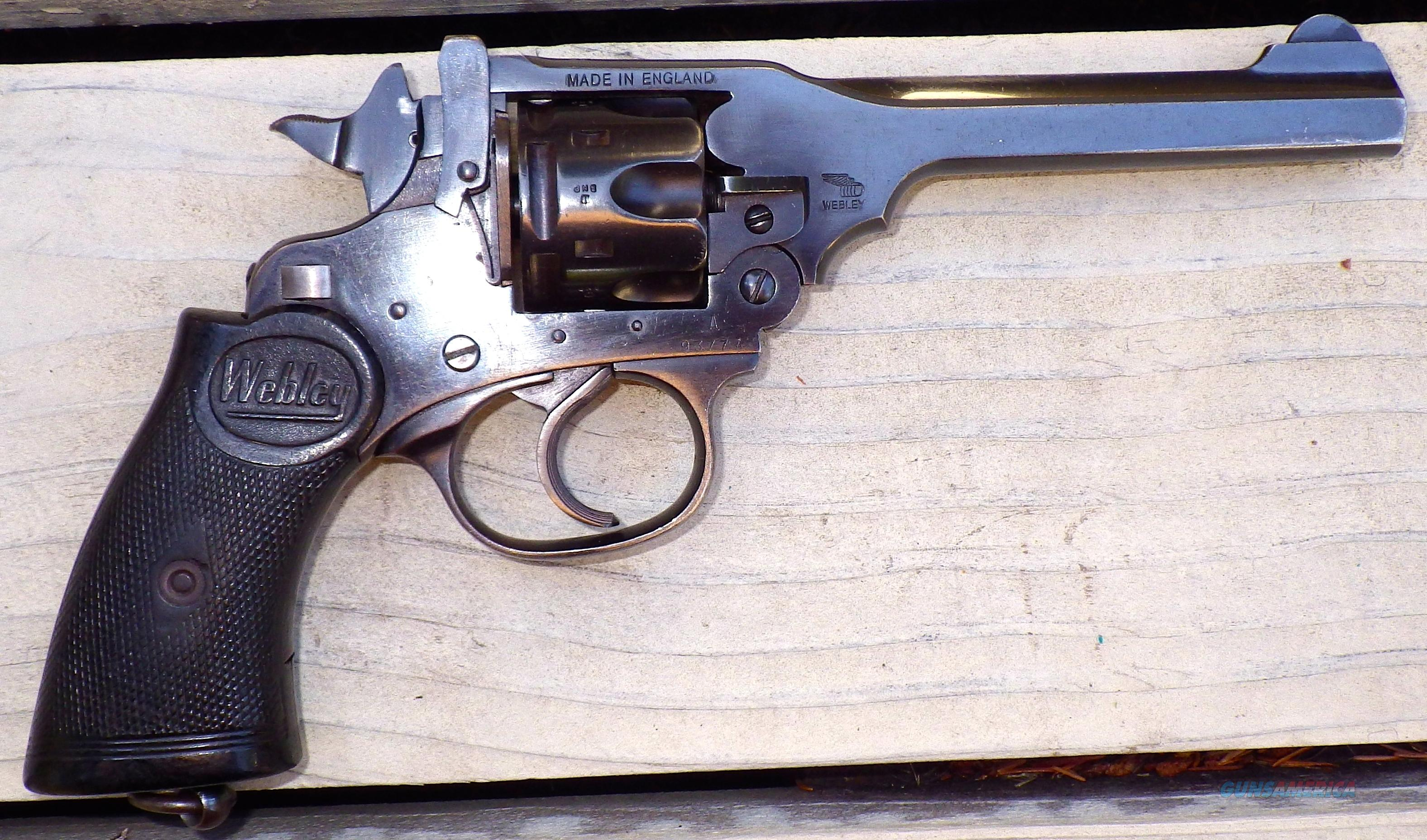 Webley & Scott Mark IV .38 S&W, 5-inch, holster, cleaning rod, 80%  Guns > Pistols > Webley Pistols