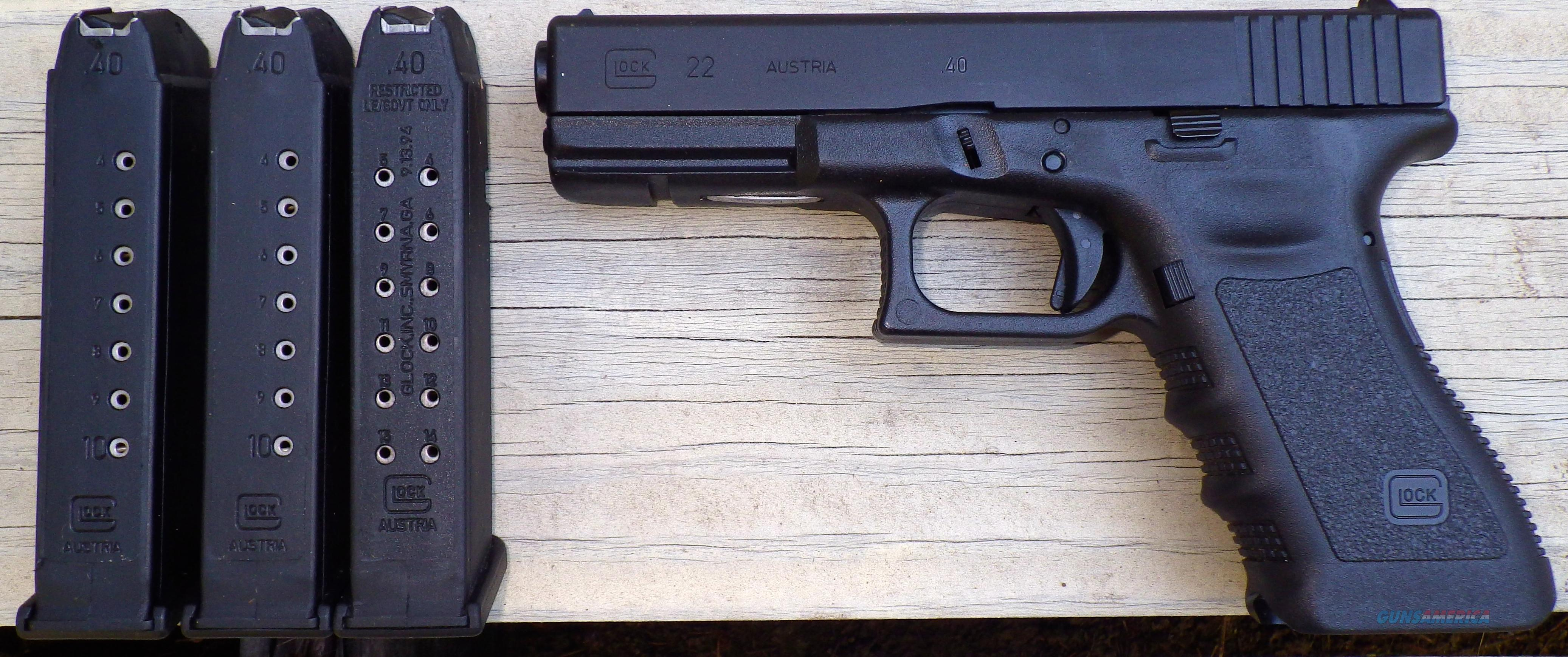 Glock .40 S&W, 3 mags, box/literature, unfired  Guns > Pistols > Glock Pistols > 22