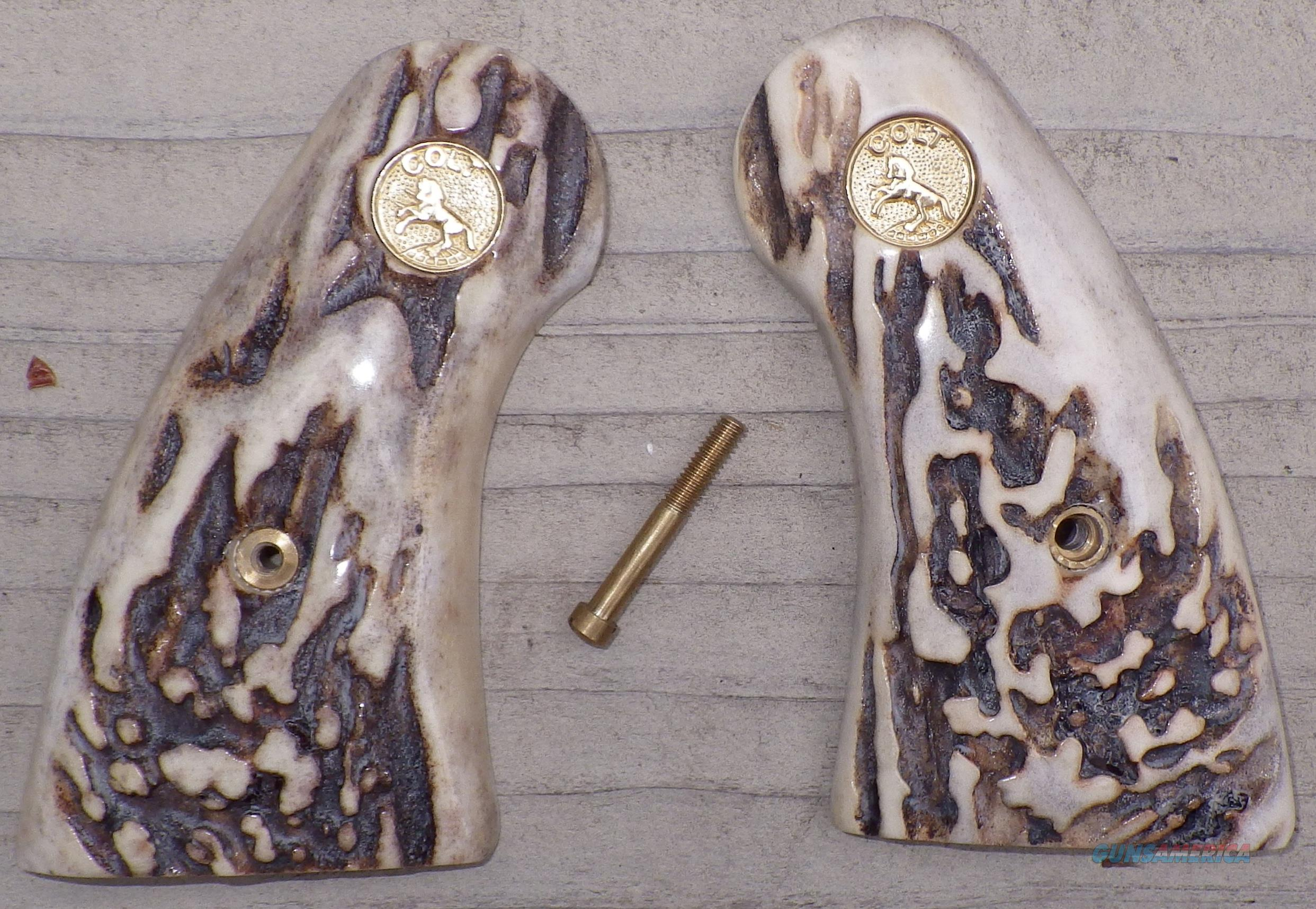 Colt Python stag antler grips with Colt medallion  Non-Guns > Gunstocks, Grips & Wood
