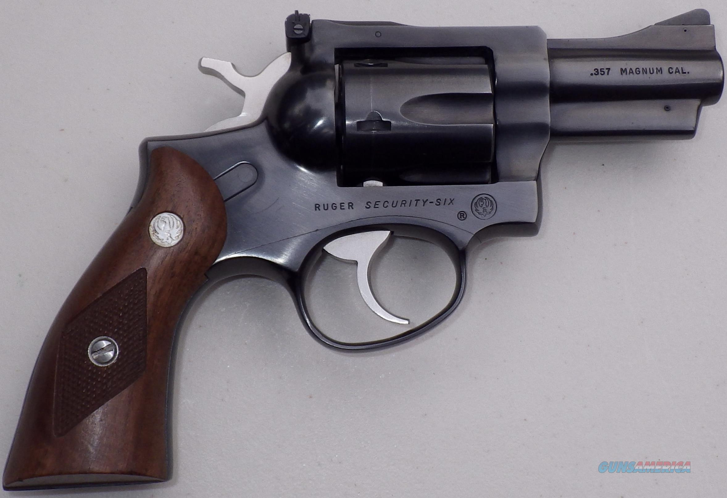 Ruger Security Six .357 Magnum, 2.75-inch barrel, blue, wood, made in 1982, 98% condition  Guns > Pistols > Ruger Double Action Revolver > Security Six Type