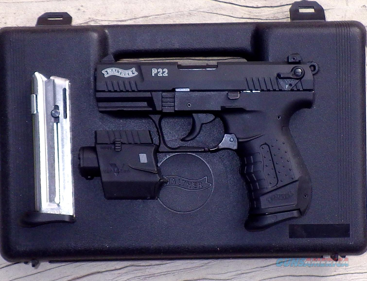 Walther P22 .22 LR, Viridian green laser, 2 mags, 3.4-inch, new in box  Guns > Pistols > Walther Pistols > Post WWII > P22