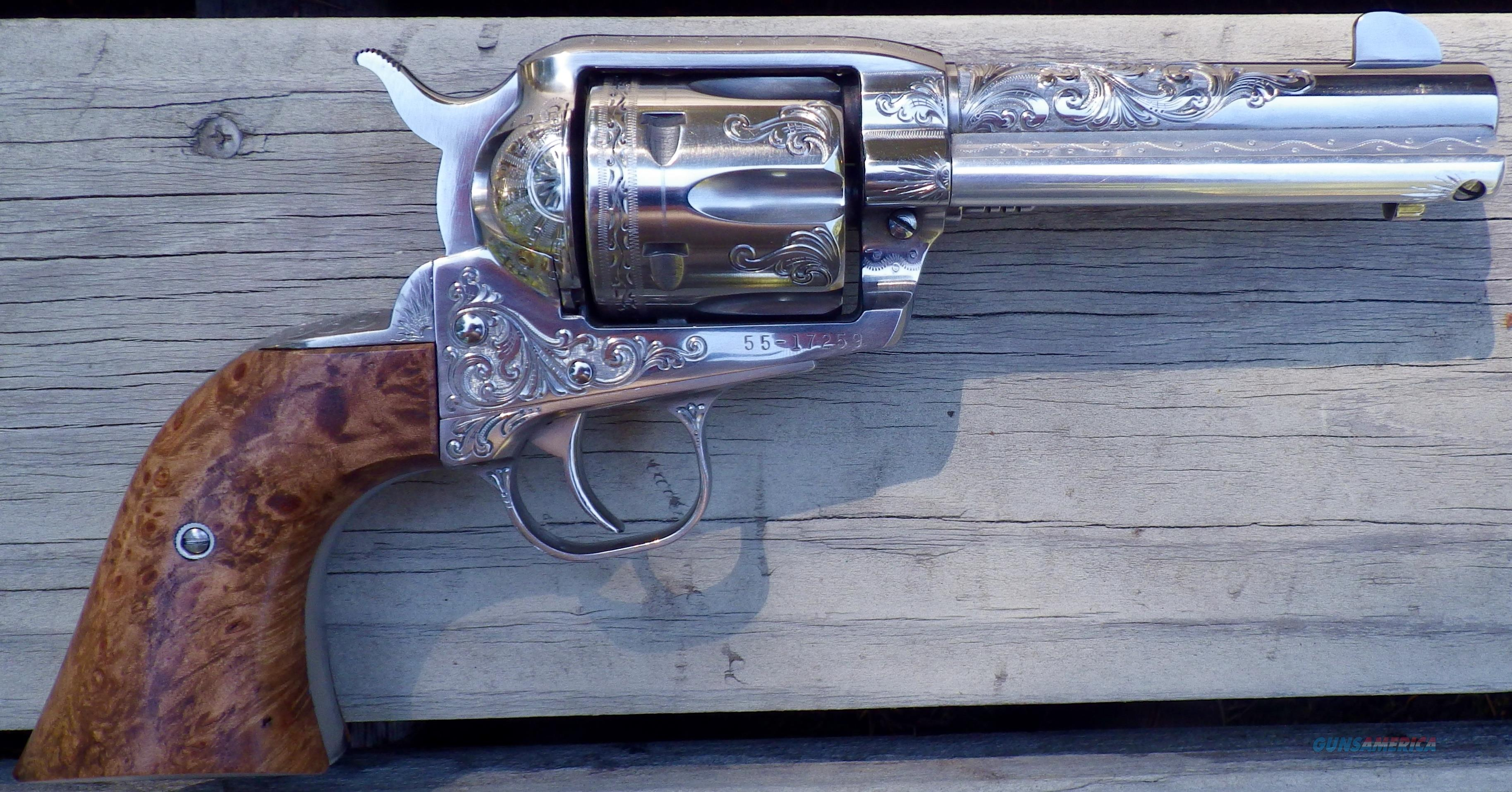 Ruger Vaquero .45 Colt, custom engraved by C. Hinley, burl grips, 99%+  Guns > Pistols > Custom Pistols > Cowboy Action