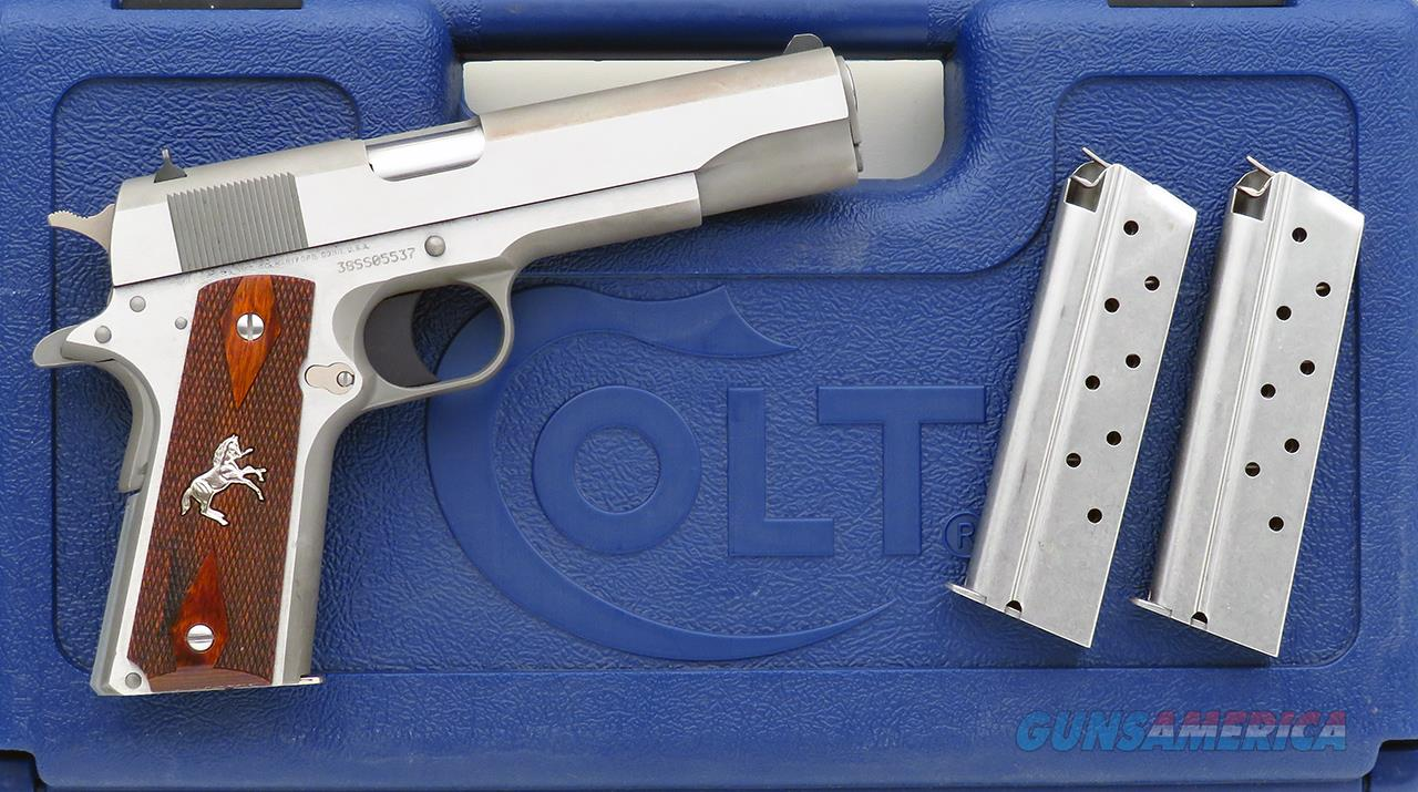 Colt 1911 38 Super, stainless steel, three magazines, hard case, unfired  Guns > Pistols > Colt Automatic Pistols (1911 & Var)