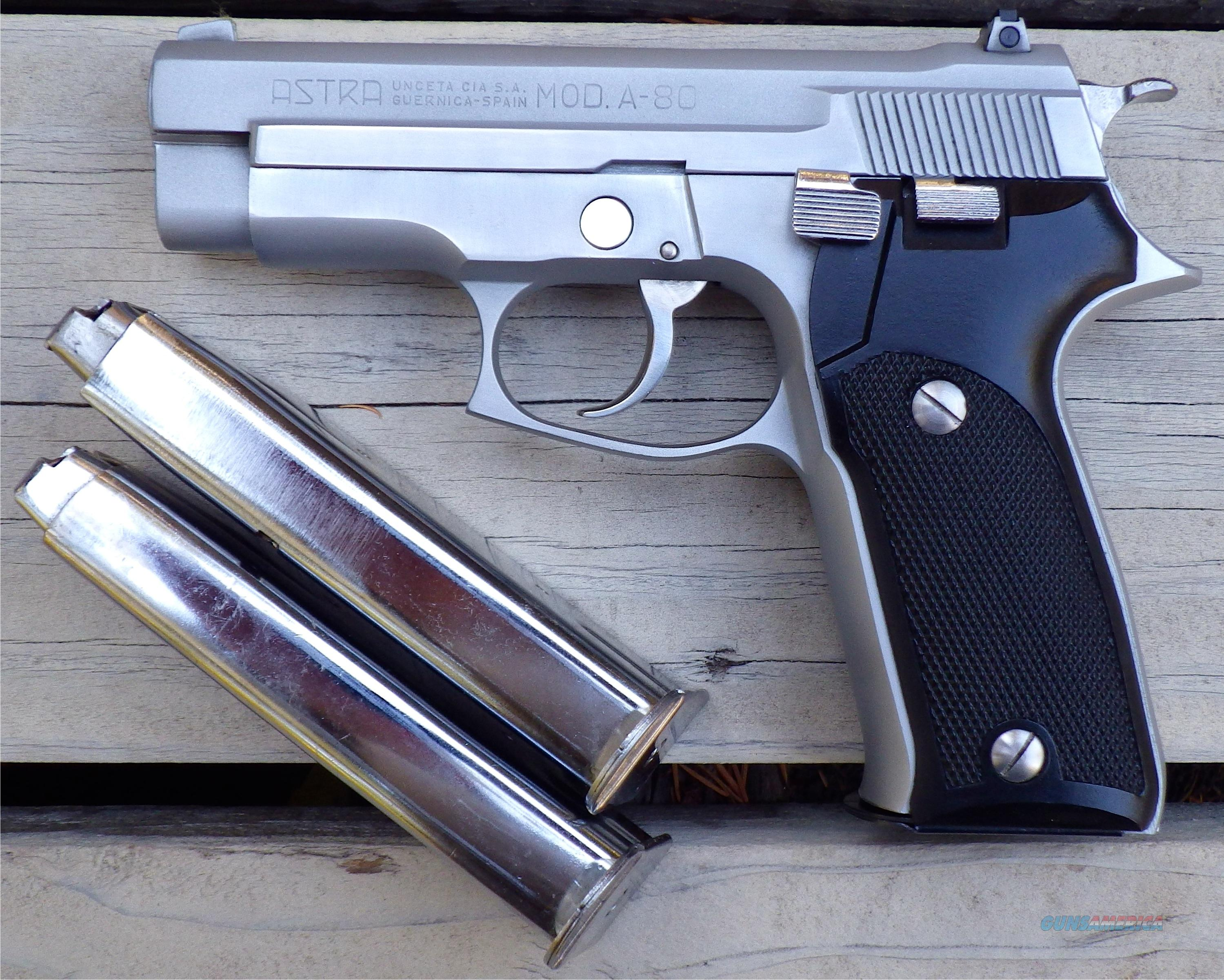 Astra A-80 .45 ACP double action, chrome or stainless, 3 magazines  Guns > Pistols > Astra Pistols