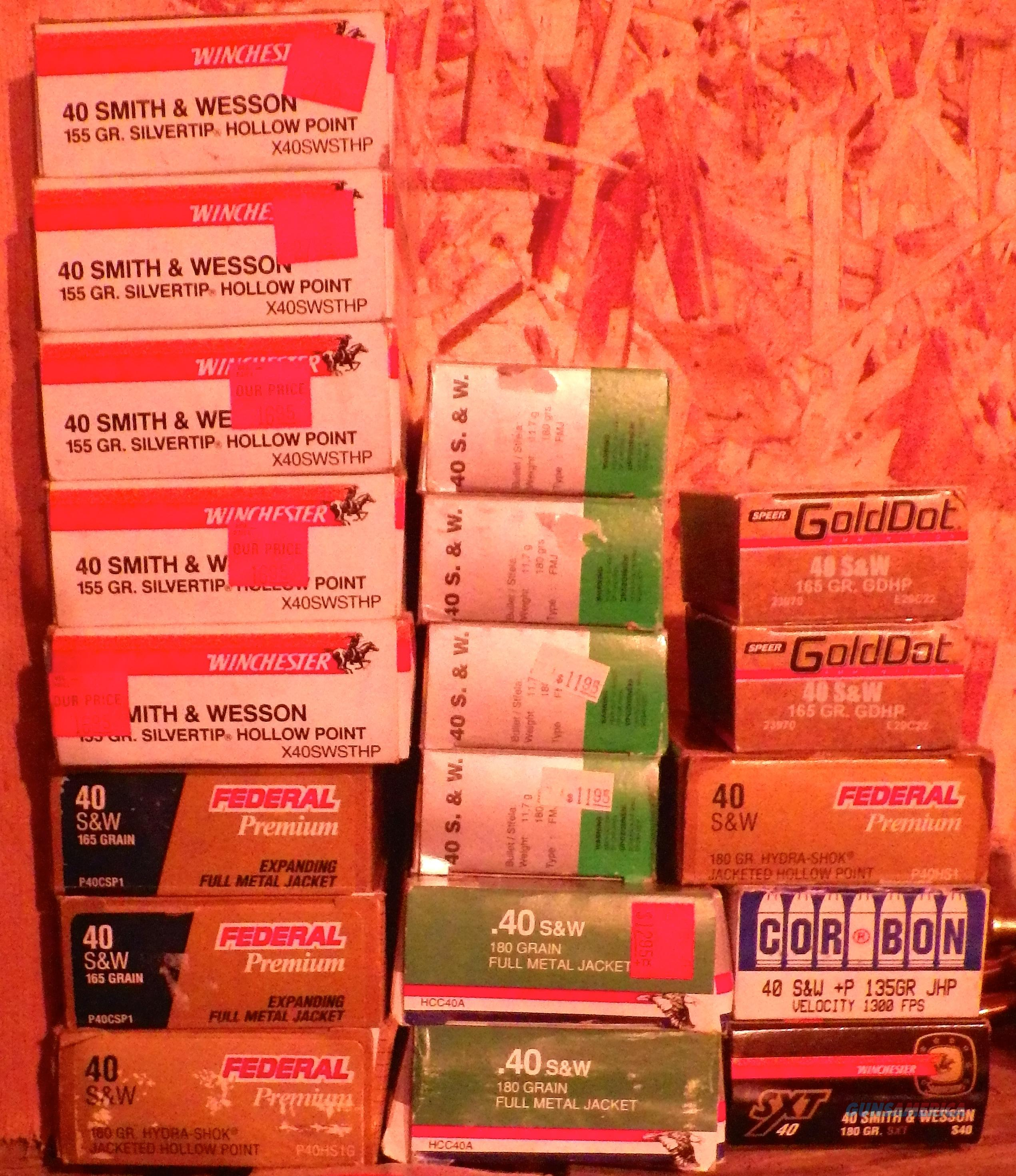 .40 S & W - 19 boxes, 800 rounds +/-, all factory, Federal, Winchester, Hansen  Non-Guns > Ammunition