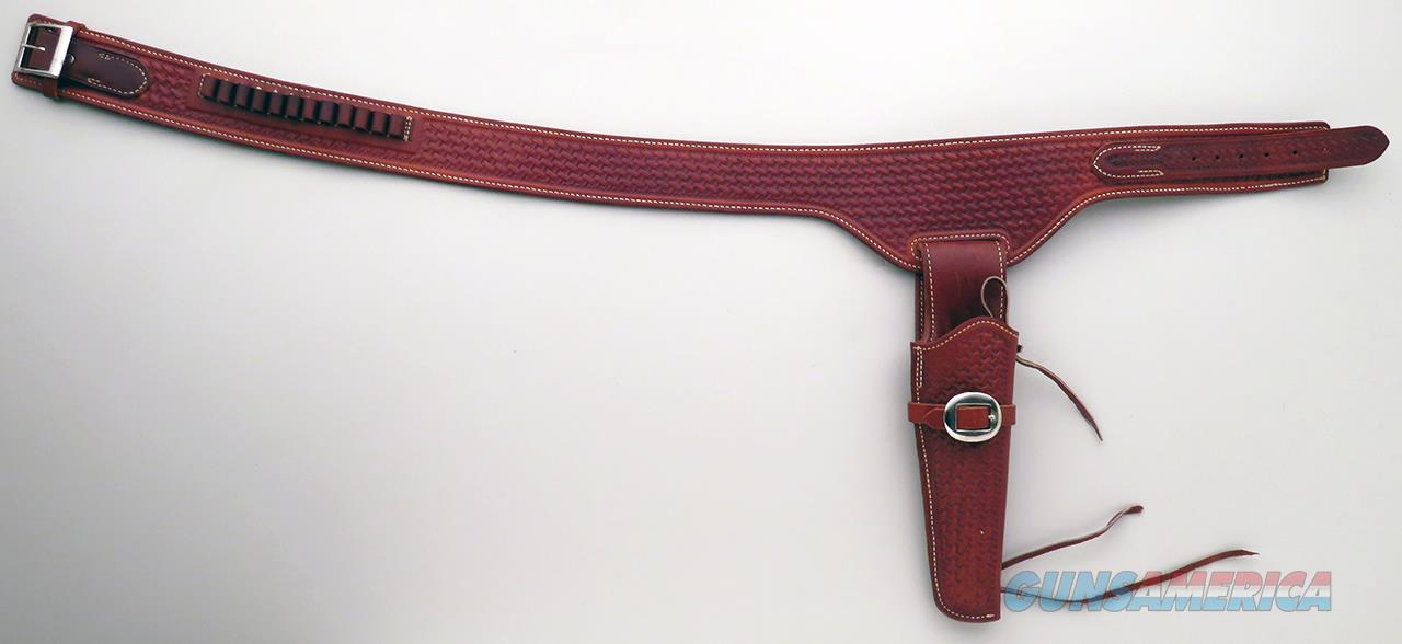 Lawrence 45-inch basketweave belt rig for a 7.5-inch SAA  Non-Guns > Holsters and Gunleather > Cowboy