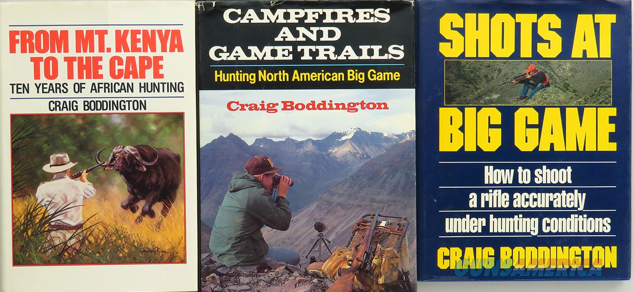 Boddington books, three, From Mount Kenya, Campfires, Shots, excellent  Non-Guns > Books & Magazines
