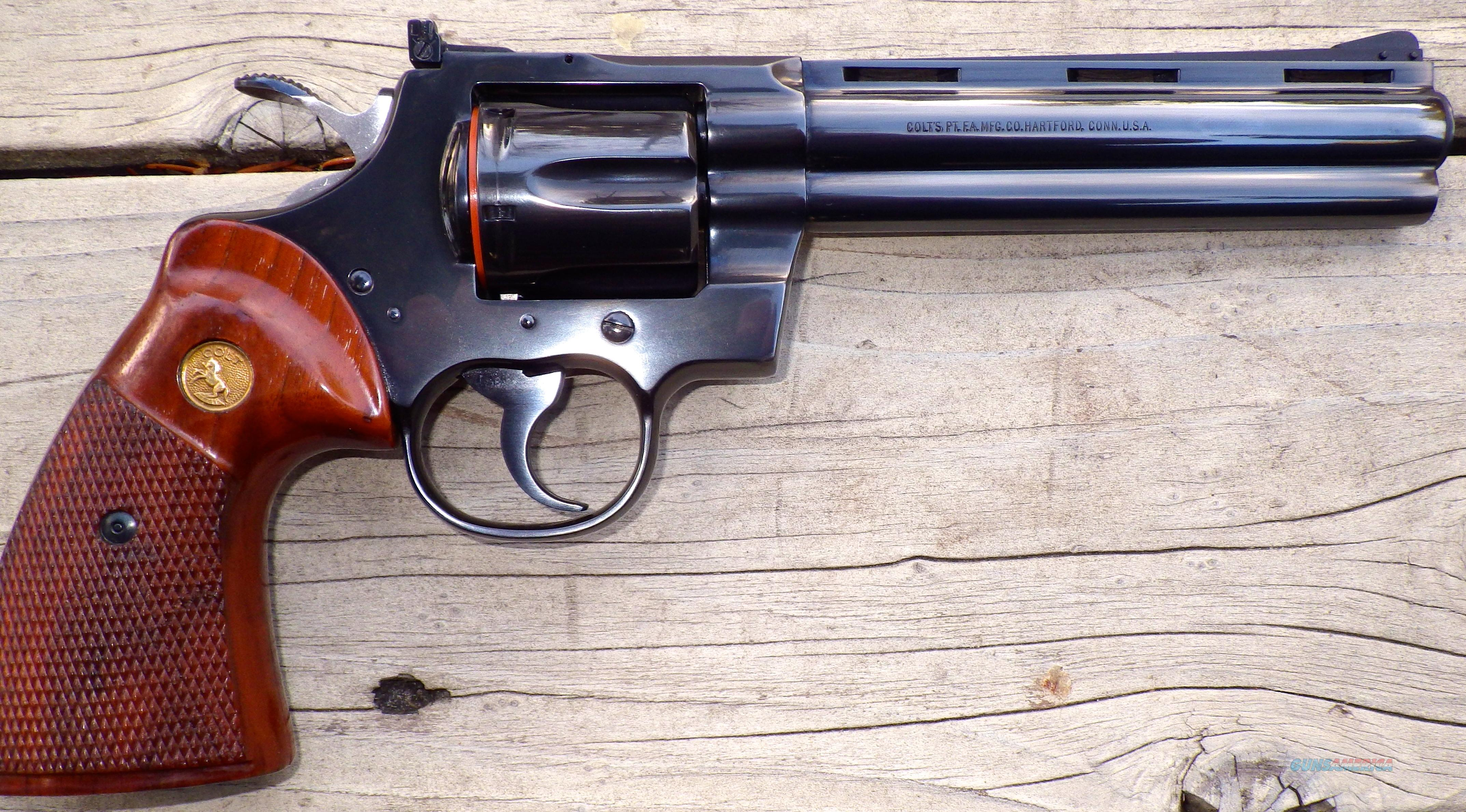 Colt Python 6-inch, 99%+, 1981, box and papers  Guns > Pistols > Colt Double Action Revolvers- Modern