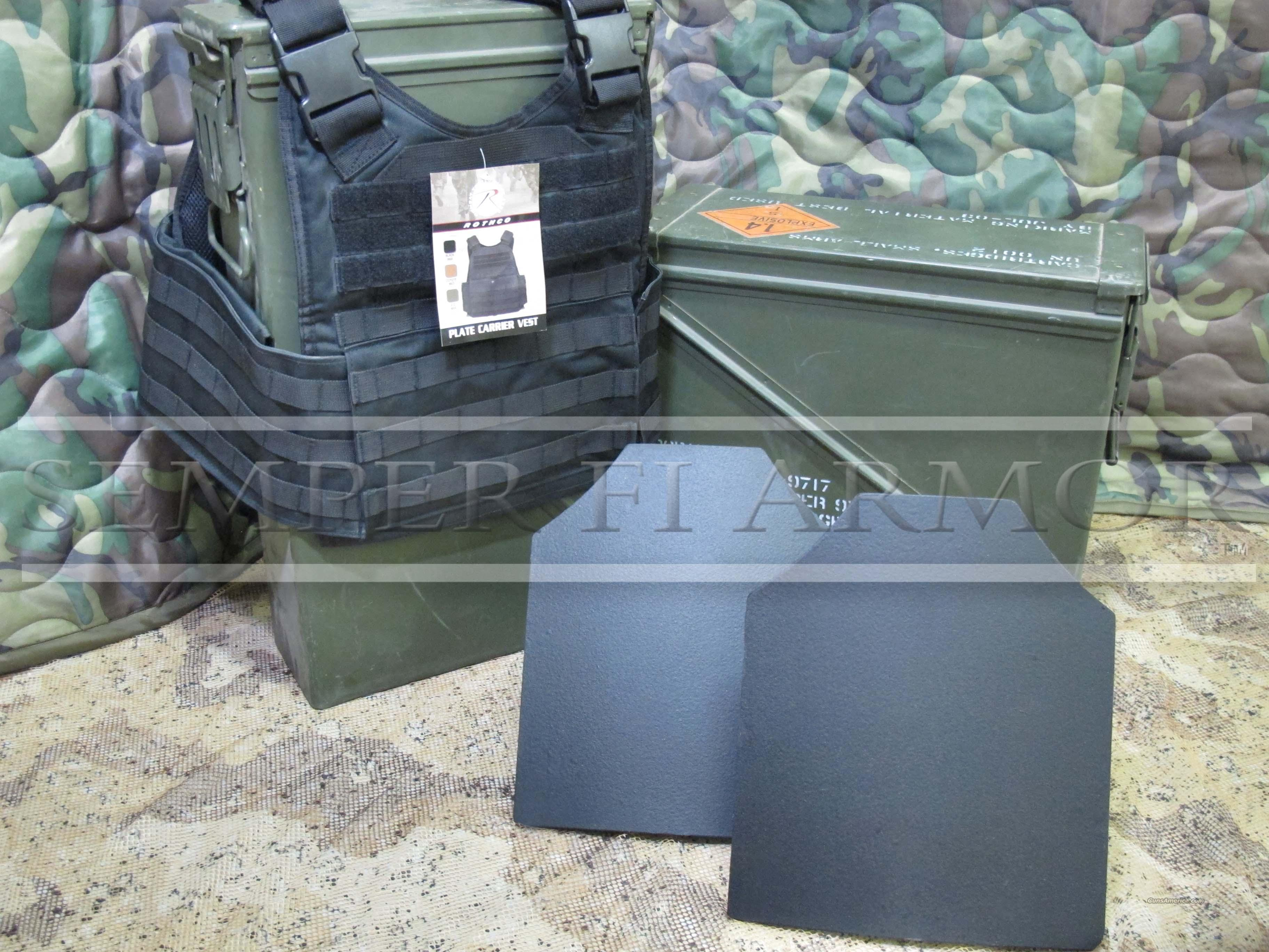 SALE 2-AR500 Body Armor Plates 10x12 & Black Carrier  Non-Guns > Tactical Equipment/Vests