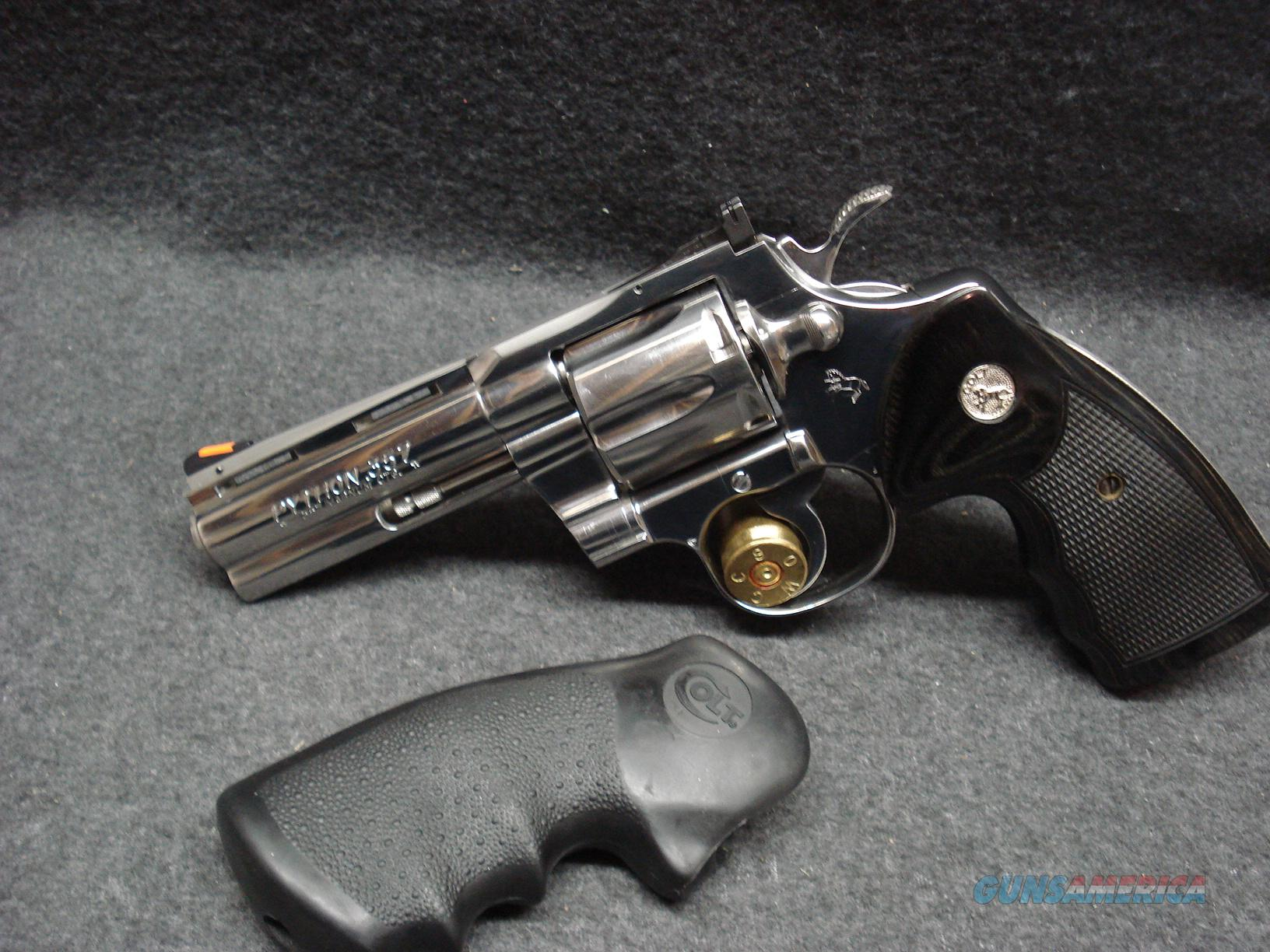 "COLT PYTHON BRITE STAINLESS 4"" LIKE NEW  Guns > Pistols > Colt Double Action Revolvers- Modern"