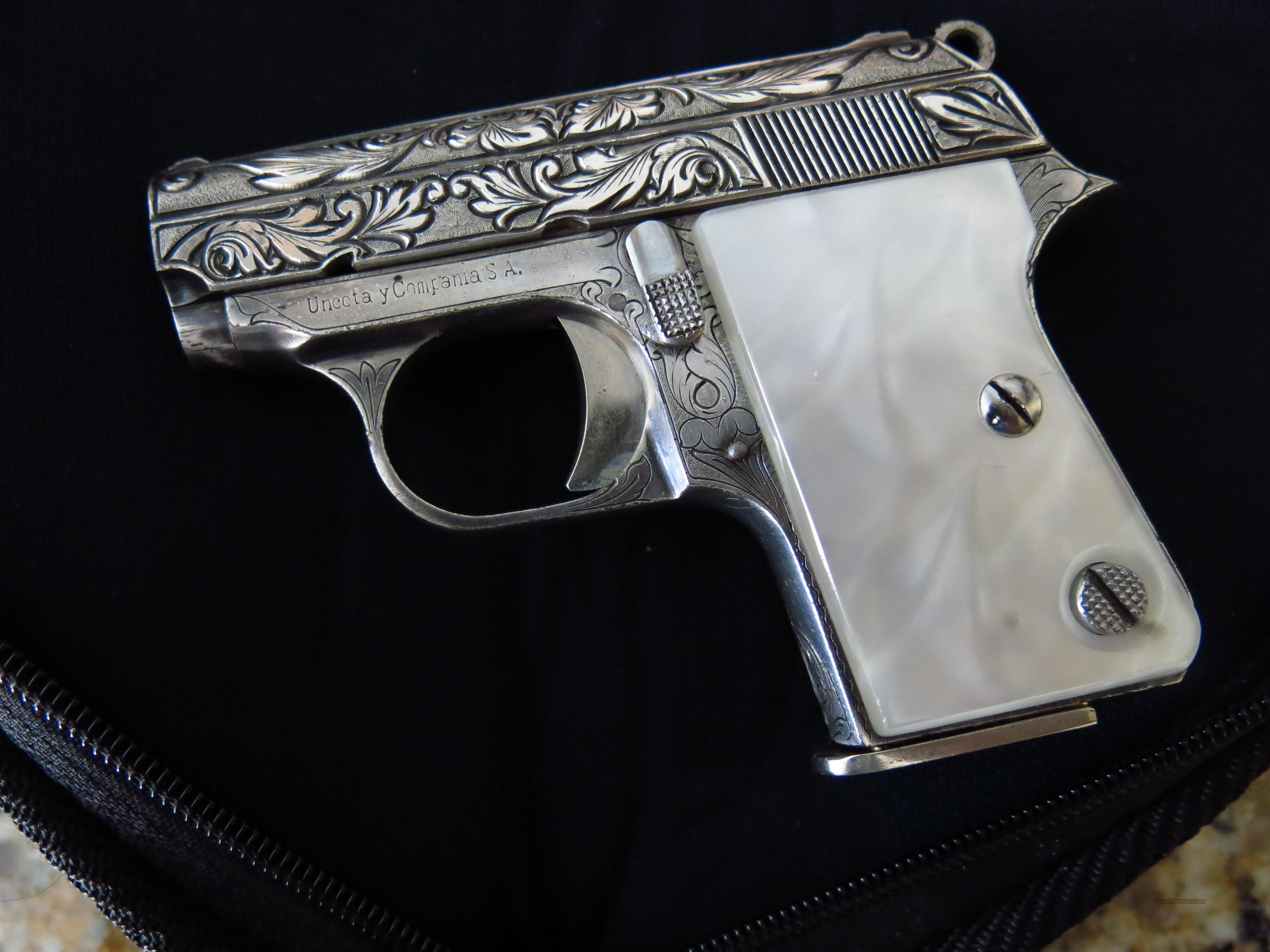 ASTRA CUB 25 ACP FACTORY ENGRAVED, SILVER PLATED  Guns > Pistols > Astra Pistols