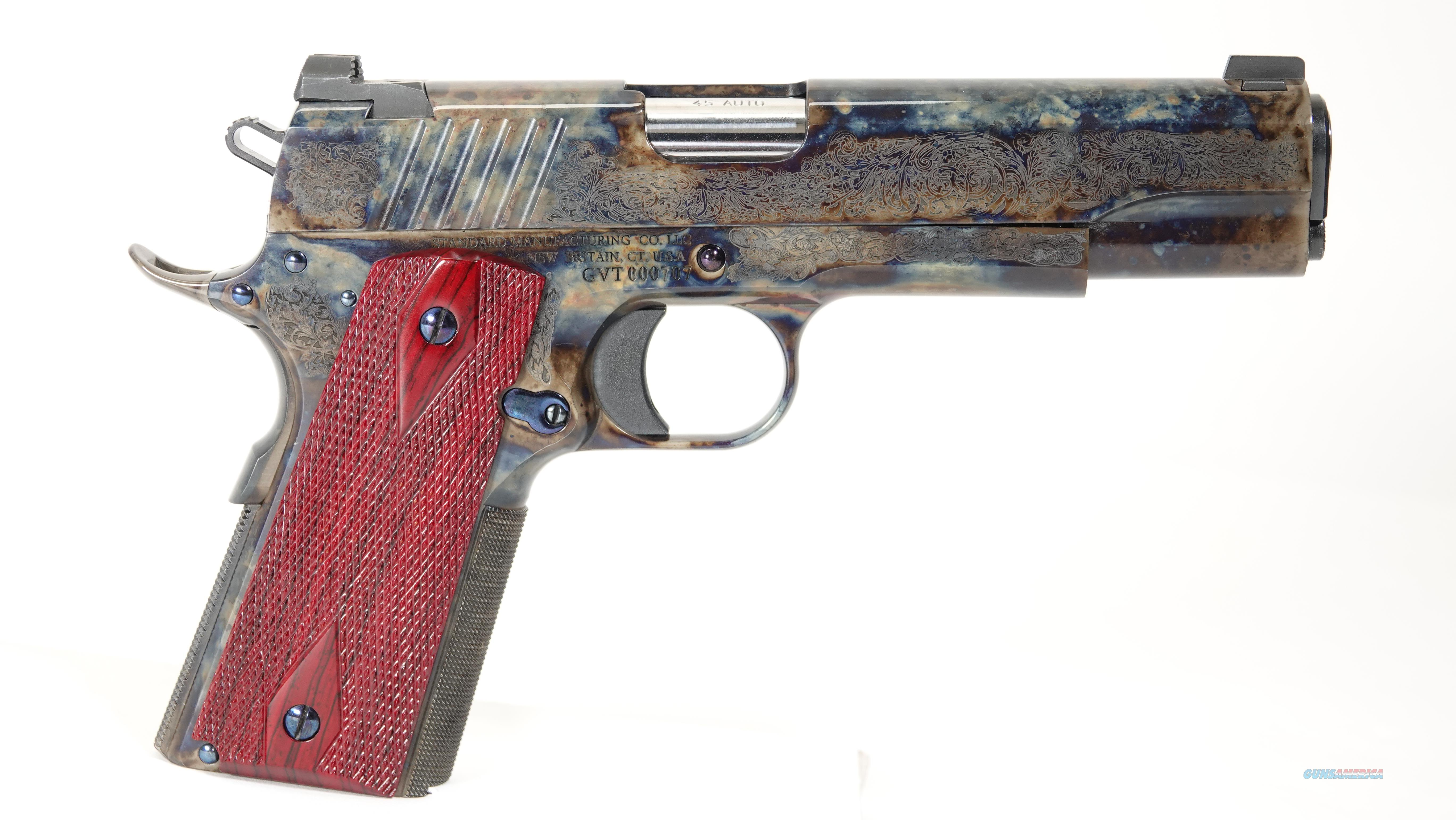 1911, 45 ACP,Case Colored #1 Engraved, by Standard Manufacturing Company   Guns > Pistols > Standard Mfg. Pistols