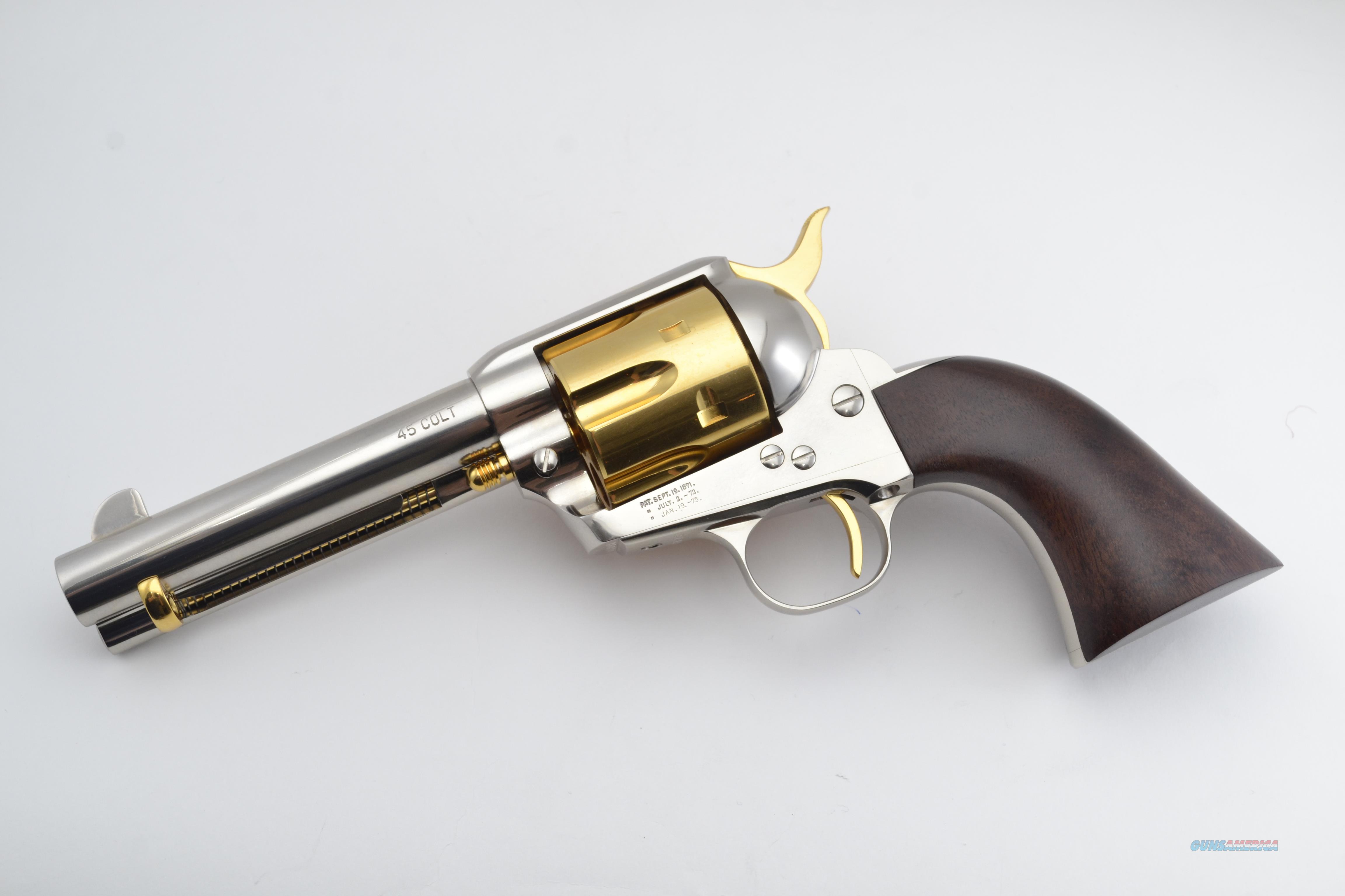 """Standard Mfg - Single Action Revolver, Nickel/Gold Plated, .45 LC. 4 3/4"""" Barrel. (LIMITED EDITION)  Guns > Pistols > Standard Mfg. Pistols"""