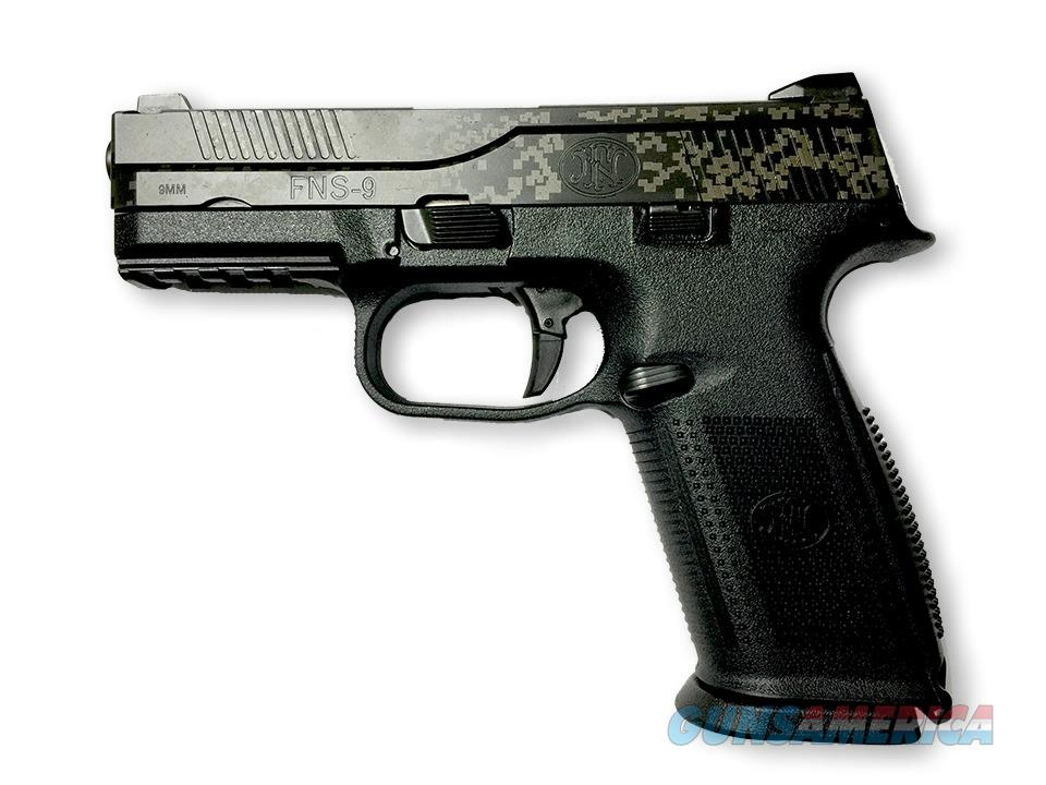 FNH FNS 9 FNS-9 Semi Auto Pistol Black Digital Camo Finish 9mm Model: 66752  UPC: 845737006709  Guns > Pistols > FNH - Fabrique Nationale (FN) Pistols > FNS