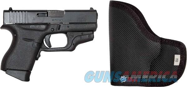 "Glock 43 Pistol 9MM 3.39"" Barrel Polymer Frame, Fixed Sights, Crimson Trace Laserguard w/Red Laser, Desantis Nemesis Pocket Holster UPC: 764503023613 Model: UI4330201CTH  Guns > Pistols > Glock Pistols > 43"