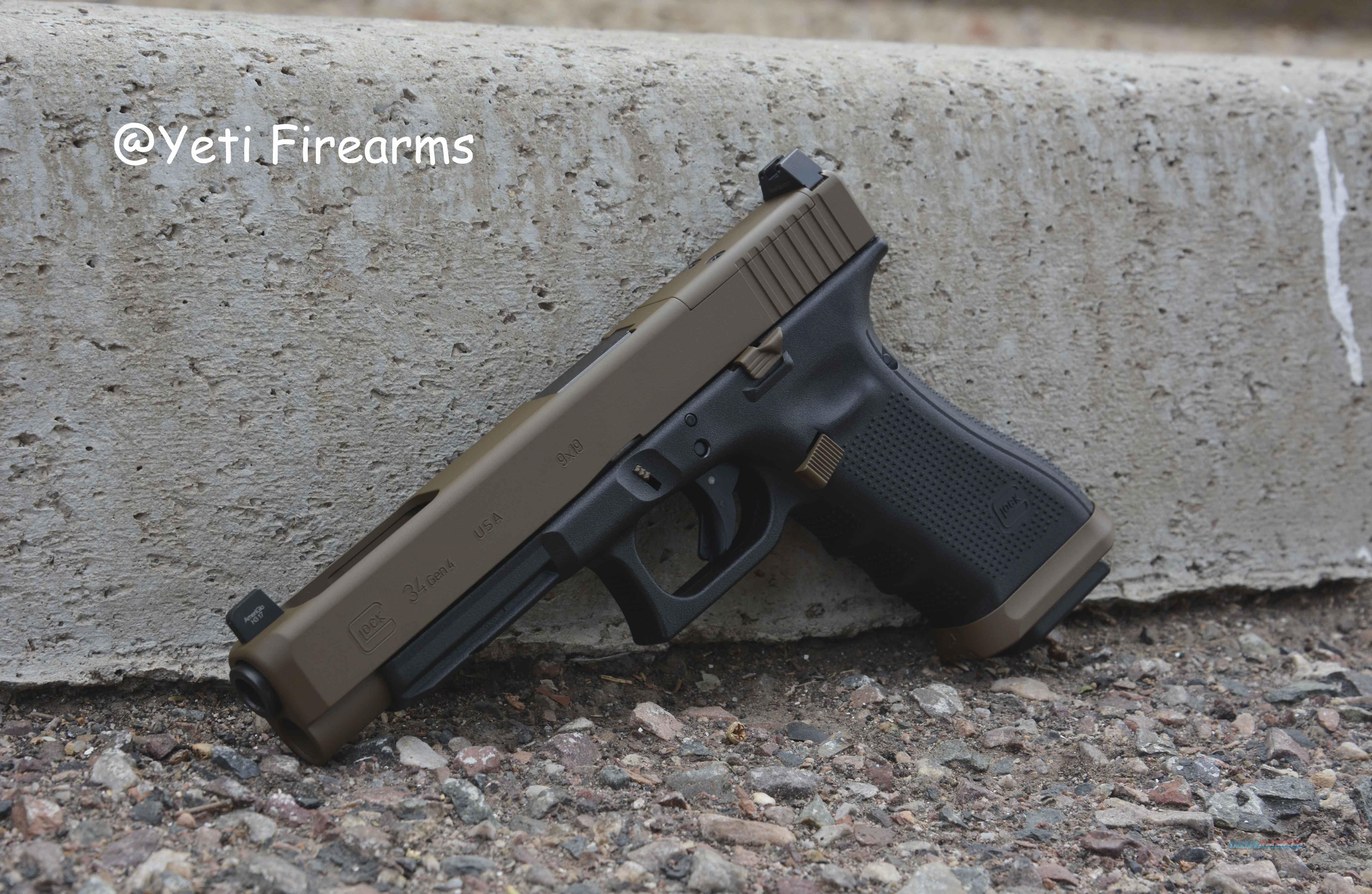 Glock 34 G4 MOS 9mm Glock FDE Agency Arms NS 17rnd  Guns > Pistols > Glock Pistols > 34