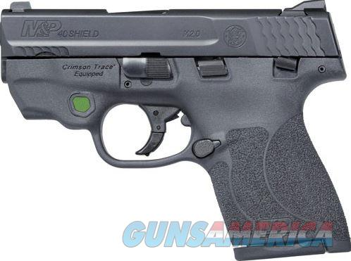 "Smith & Wesson, Shield M2.0, Semi-automatic, Striker Fired, Compact, 40 S&W, 3.1"", Polymer, Black, 6Rd & 7Rd, 2 Mags, Crimson Trace Green Laser, Thumb Safety, Fixed Sights  11902    022188871647  Guns > Pistols > Smith & Wesson Pistols - Autos > Polymer Frame"