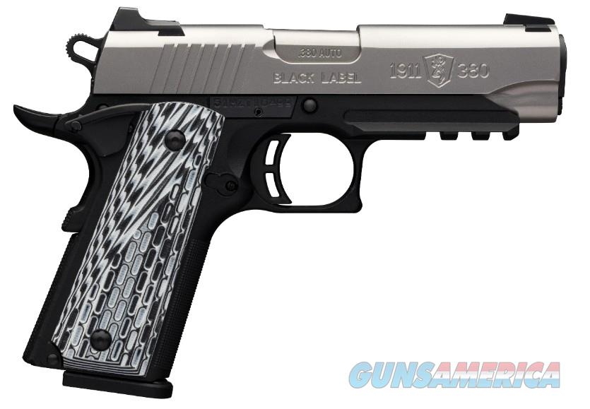 "Browning 051925492 1911-380 Black Label Pro Compact with Rail Single 380 Automatic Colt Pistol (ACP) FO 3.62"" 8+1 Black G10 Grip Stainless Steel  Guns > Pistols > Browning Pistols > Other Autos"