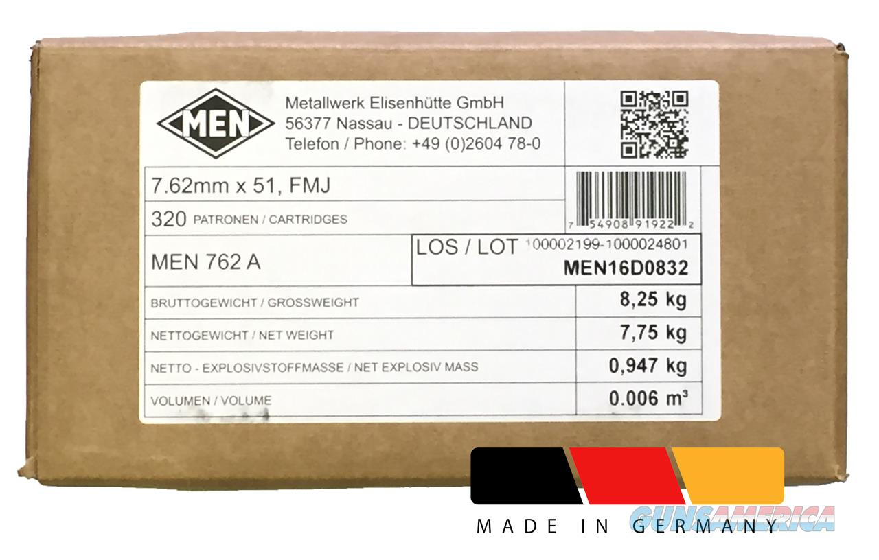 MEN 7.62x51mm NATO 147 Grain FMJ 320 Round Case bulk ammo MEN762A 754908919215  Non-Guns > Ammunition