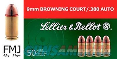 S&B Sellier and Bellot .380 ACP 92 Grain FMJ 1000 Round Case SB380A 754908500055  Non-Guns > Ammunition