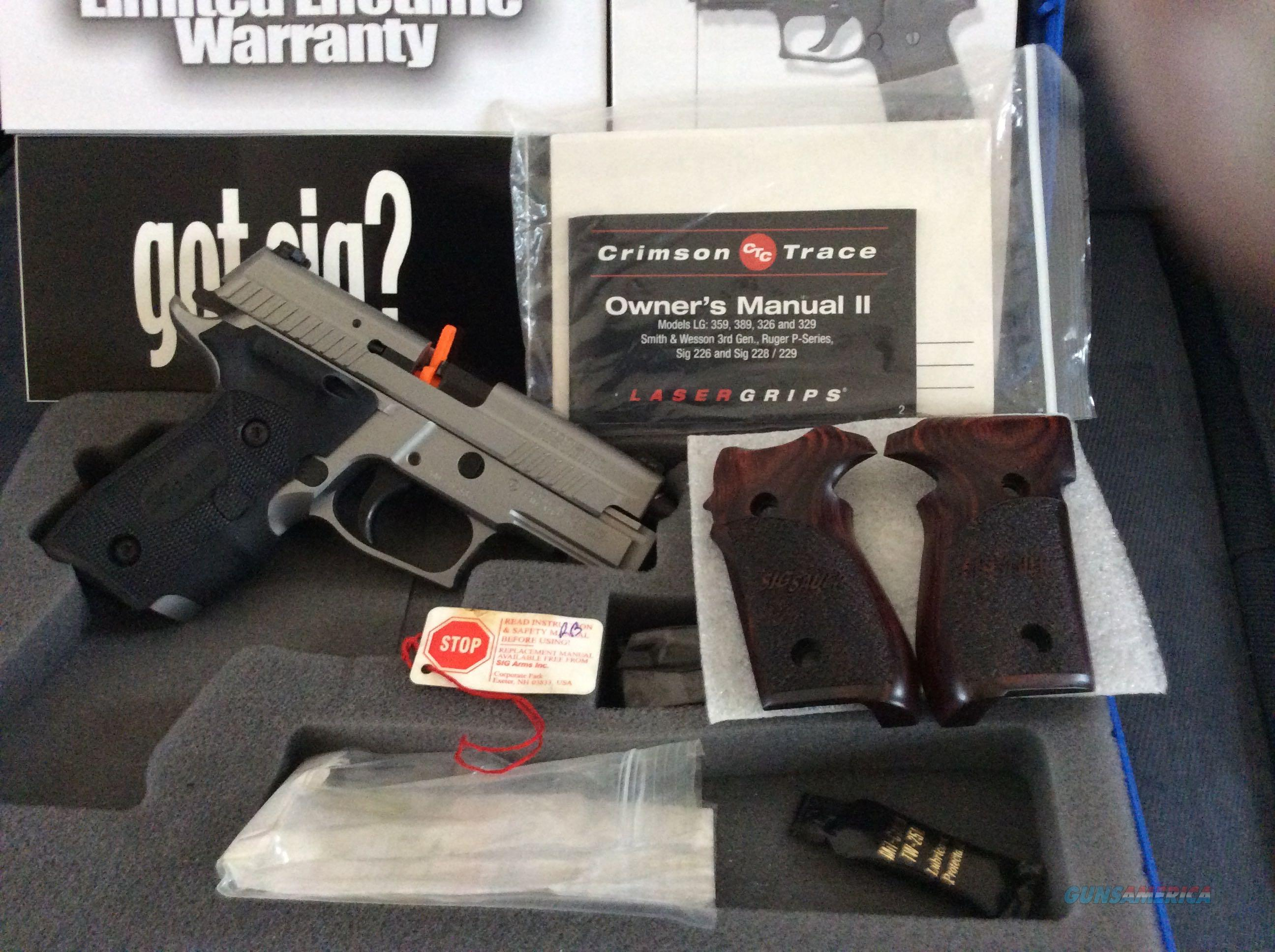 SIG P229 STAINLESS ELITE W/ SIG LOGO CT GRIPS. ROSEWOOD GRIPS INCLUDED.  Guns > Pistols > Sig - Sauer/Sigarms Pistols > P229