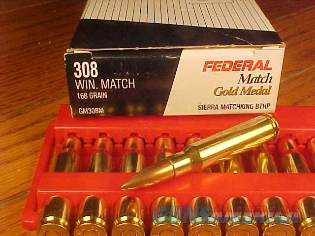 Federal 308 Win Ammunition Gold Medal GM308M 168 Grain Sierra Matchking Boat Tail Hollow Point 20 Rounds  Non-Guns > Ammunition