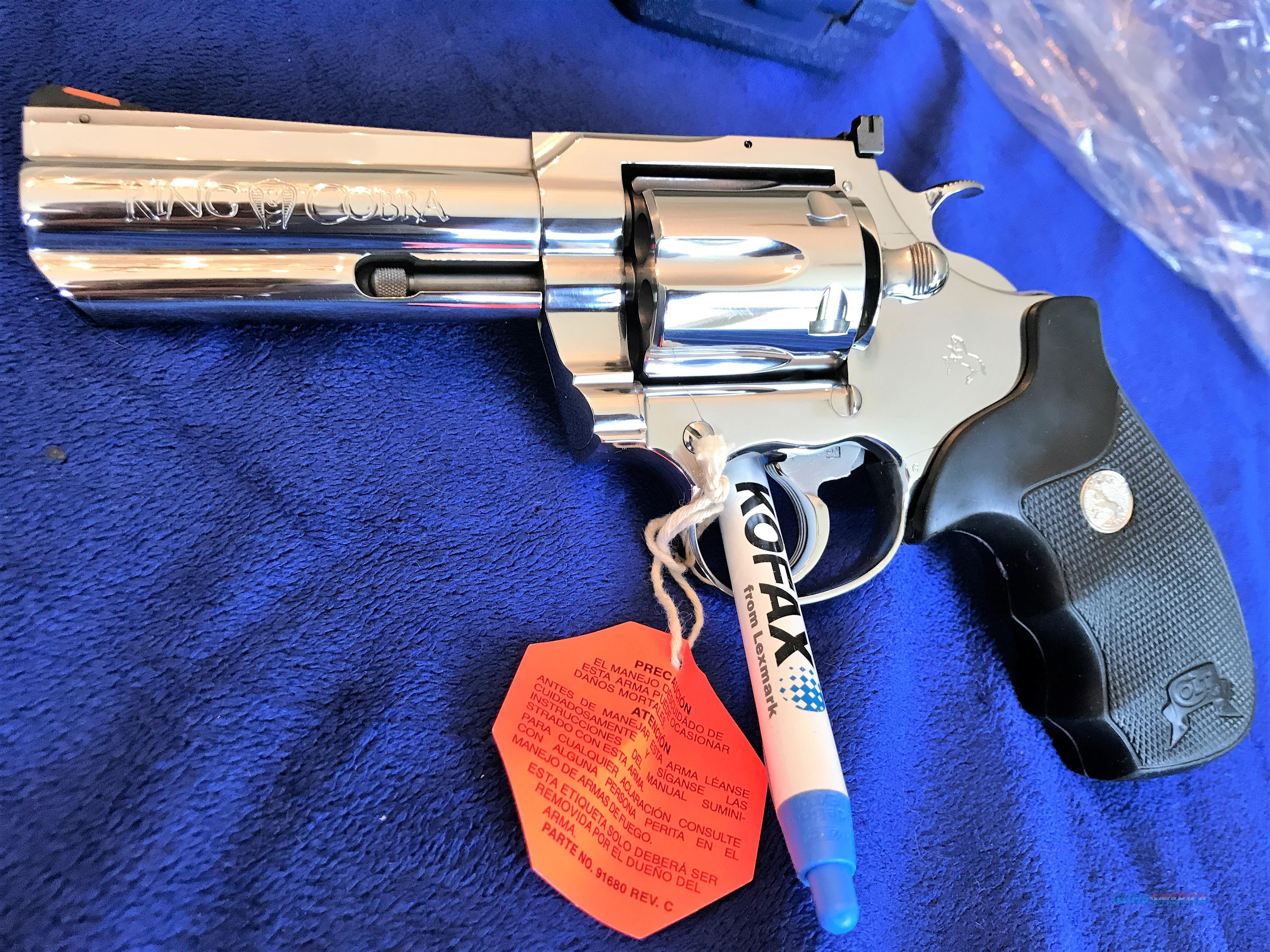 "GORGEOUS Colt King Cobra 4"" ENHANCED MODEL BRIGHT STAINLESS MIRROR like finish MINT BOX Collector series  Guns > Pistols > Colt Double Action Revolvers- Modern"